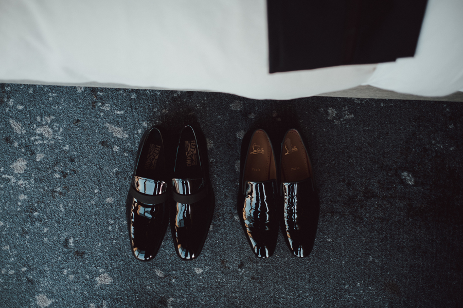 grooms sleek black wedding dress shoes