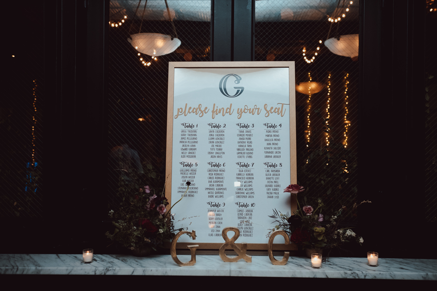 gold framed white board seating chart