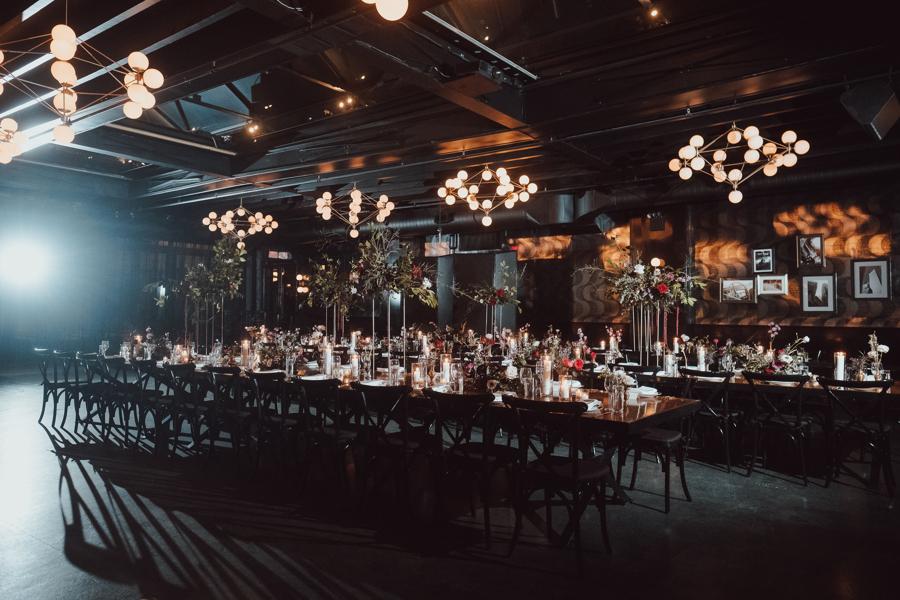 wooden farm tables indoor reception area
