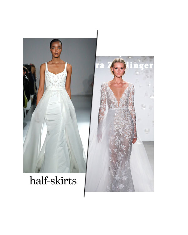 spring 2020 bridal fashion week half skirt wedding dress trend