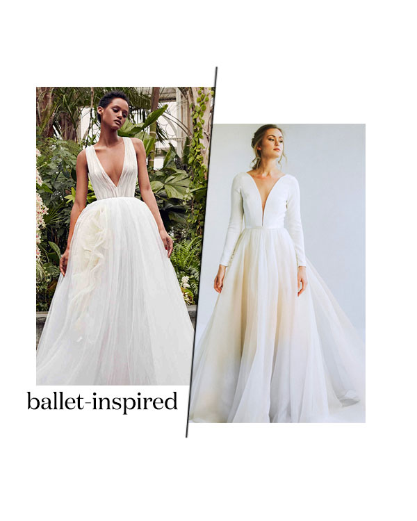 spring 2020 bridal fashion week ballet inspired wedding dress trend