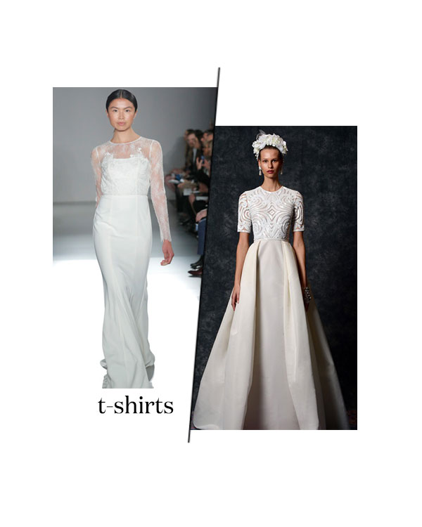 spring 2020 bridal fashion week t-shirt wedding dress trend