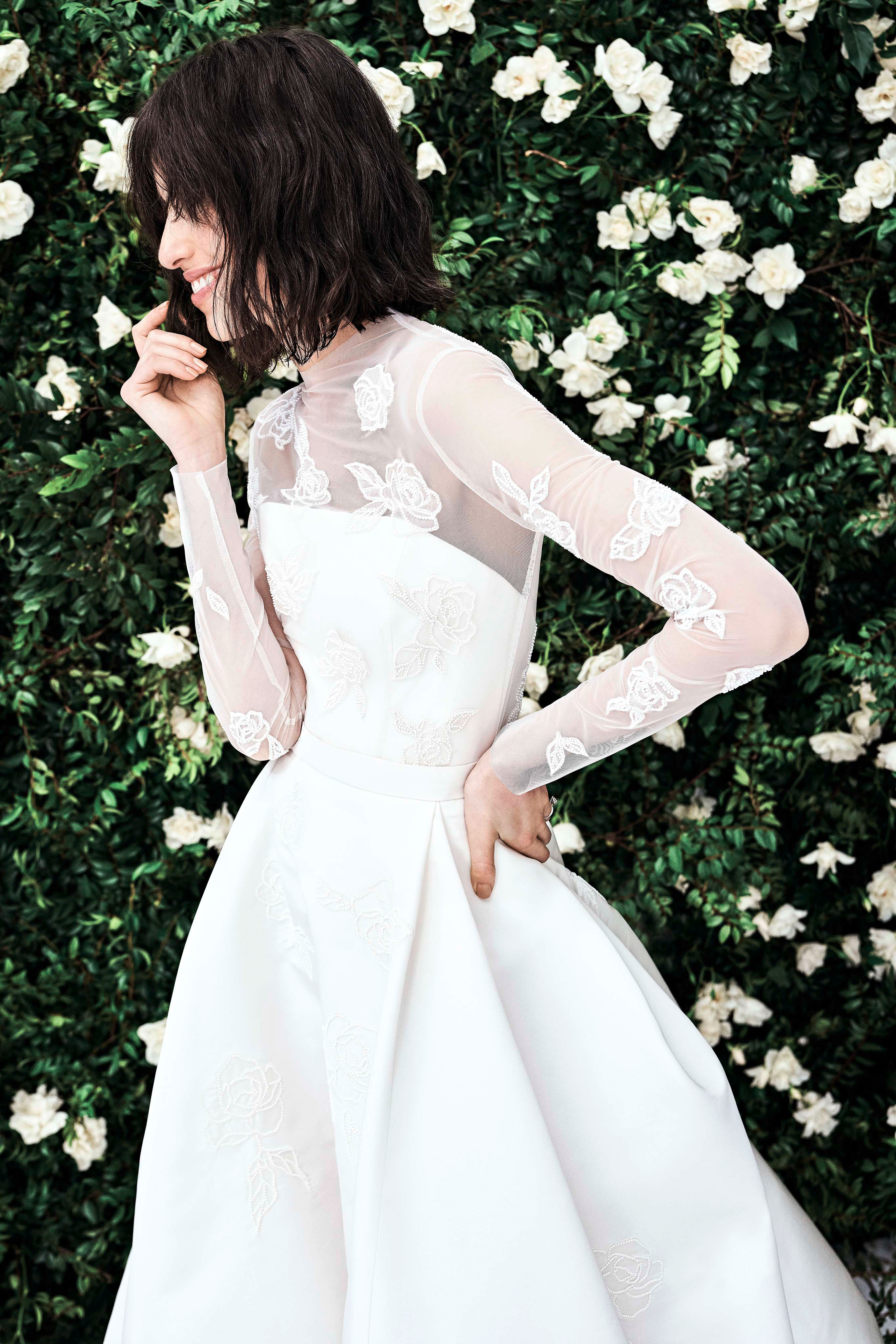 carolina herrera long sleeves a line wedding dress spring 2020