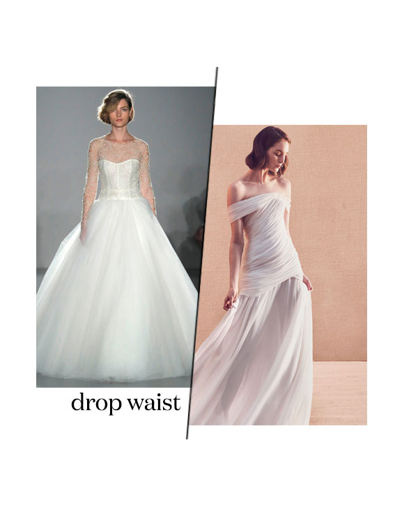 spring 2020 bridal fashion week drop waist wedding dress trend