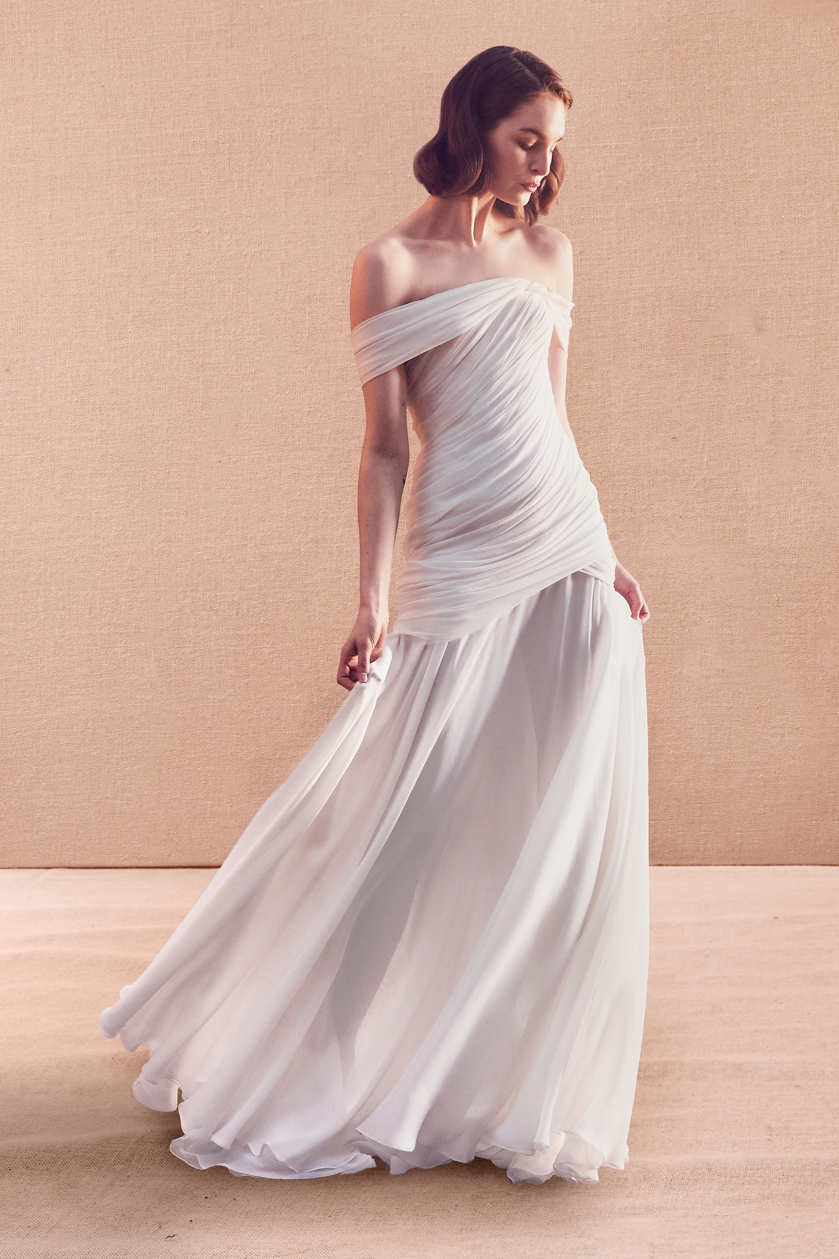 off-the-shoulder straight across tulle ruching trumpet wedding dress Oscar de la Renta Spring 2020