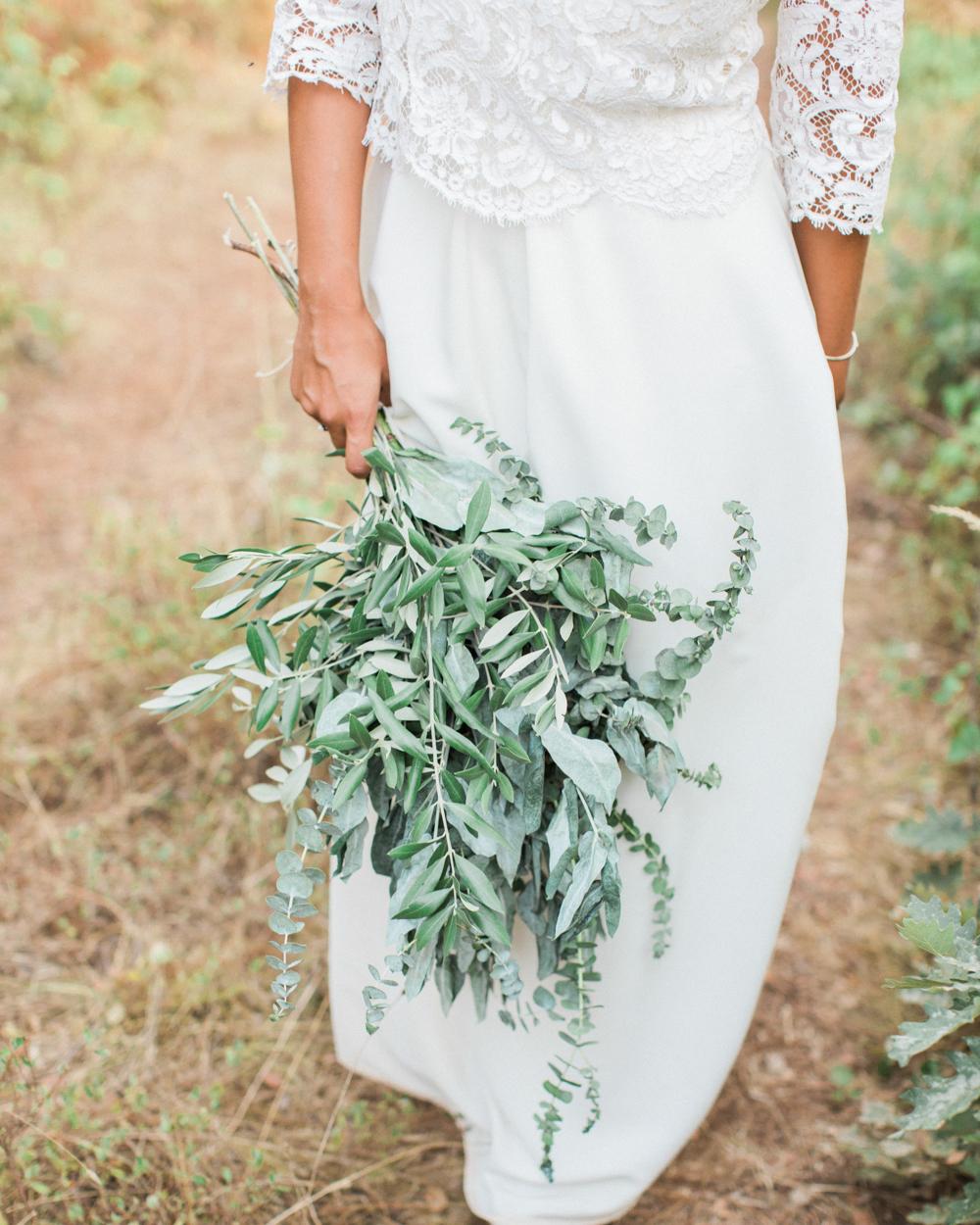 long stemmed greenery wedding bouquet