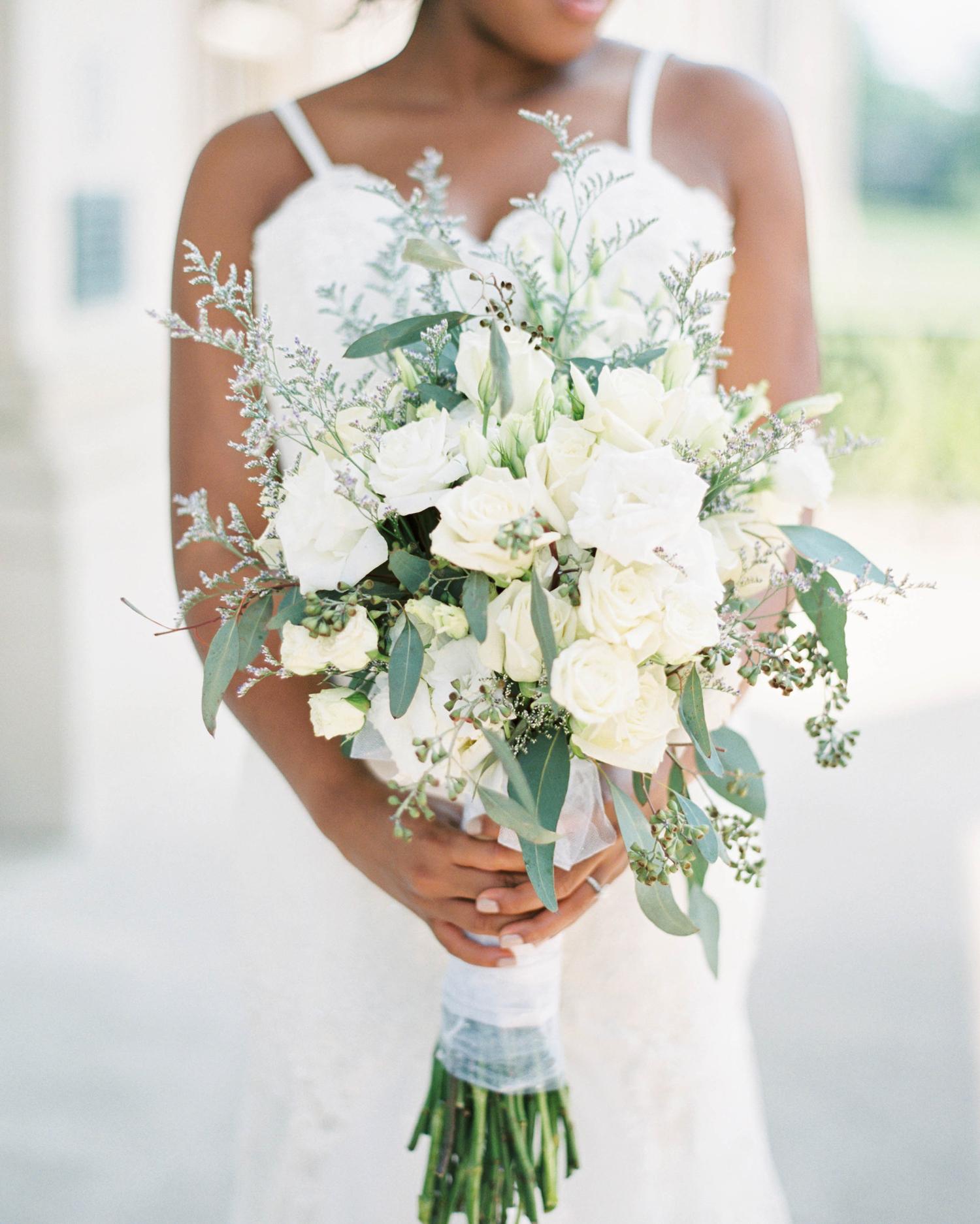 various white long stemmed florals wedding bouquet