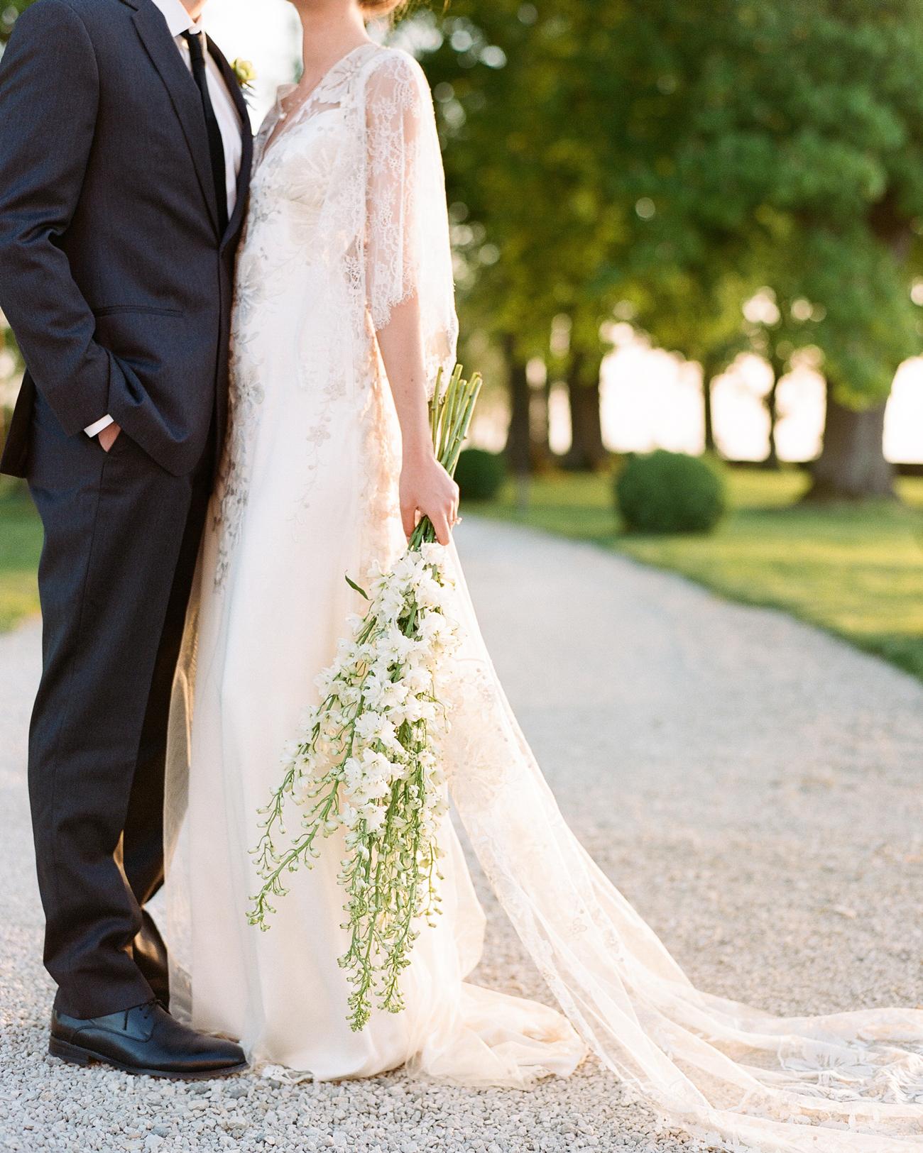 extra long stemmed white floral wedding bouquet arrangements