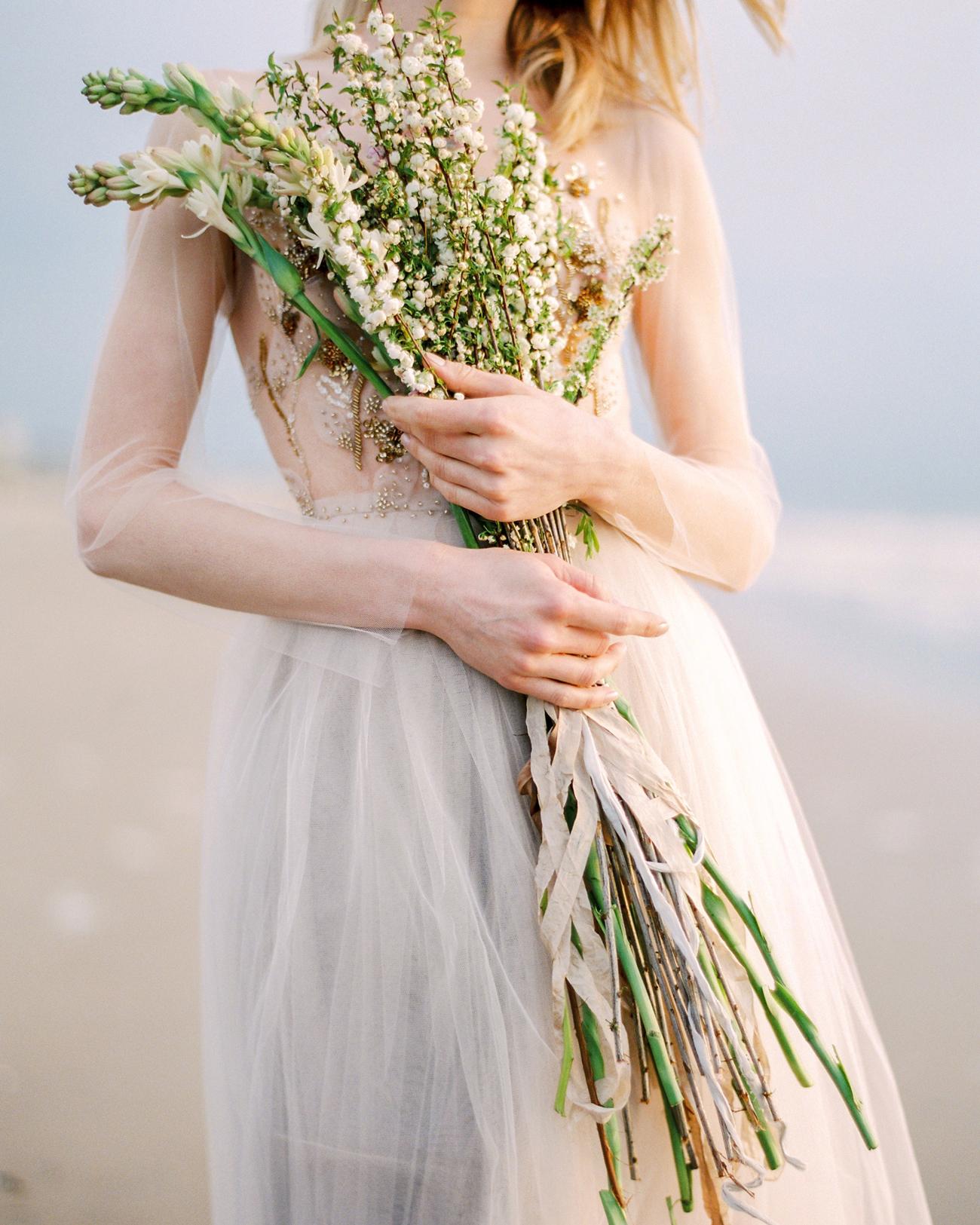 extremely long stemmed wedding bouquet arrangement