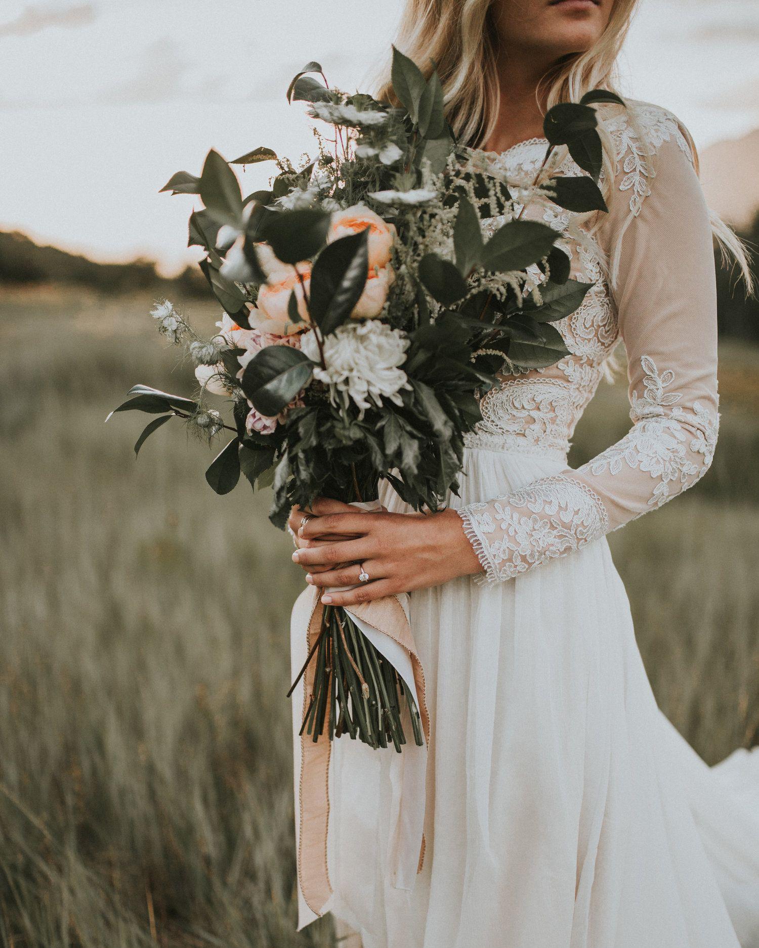 long stemmed peach garden roses wedding bouquet