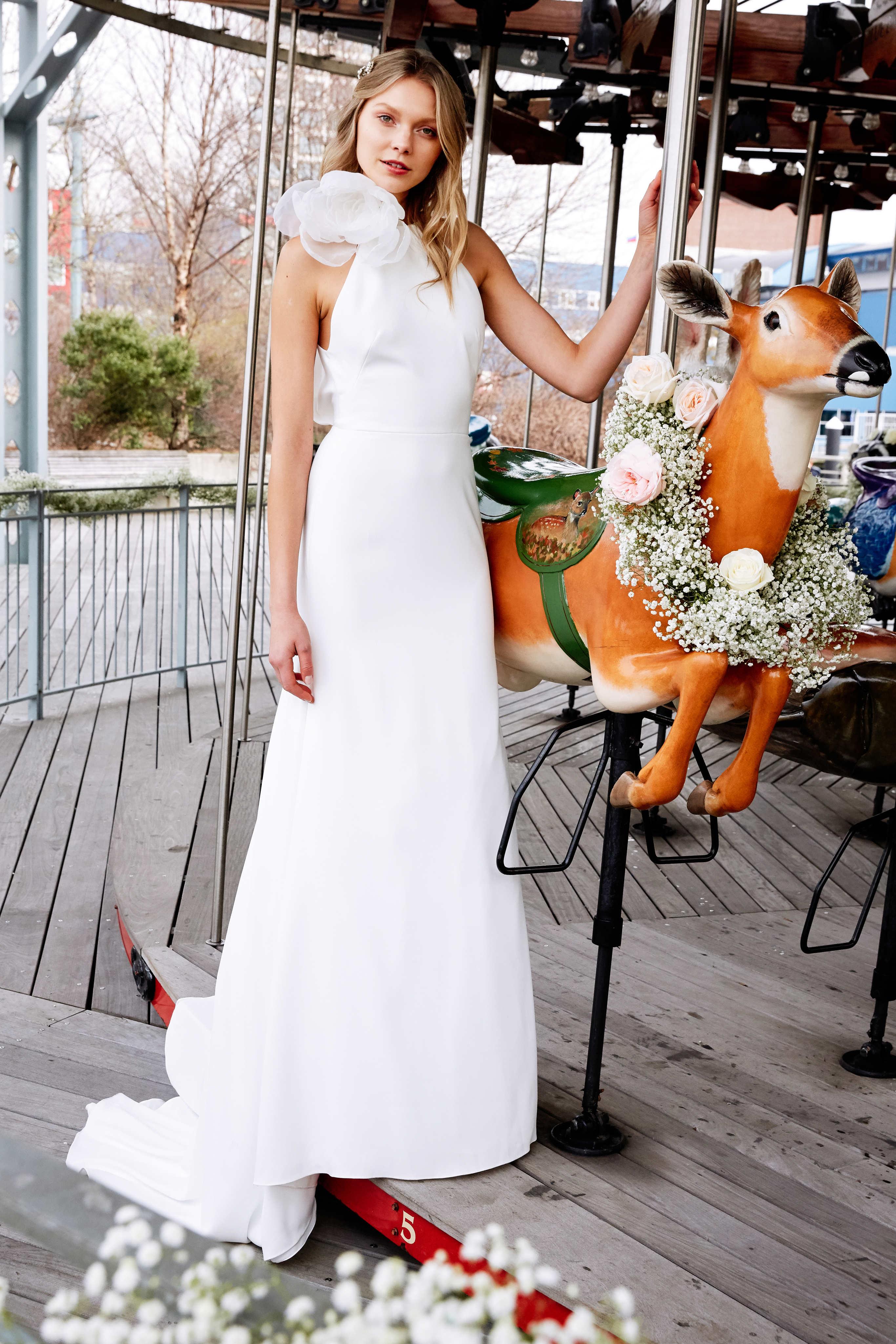 lela rose wedding dress bridal market spring 2020 one shoulder sheath flower embellishment