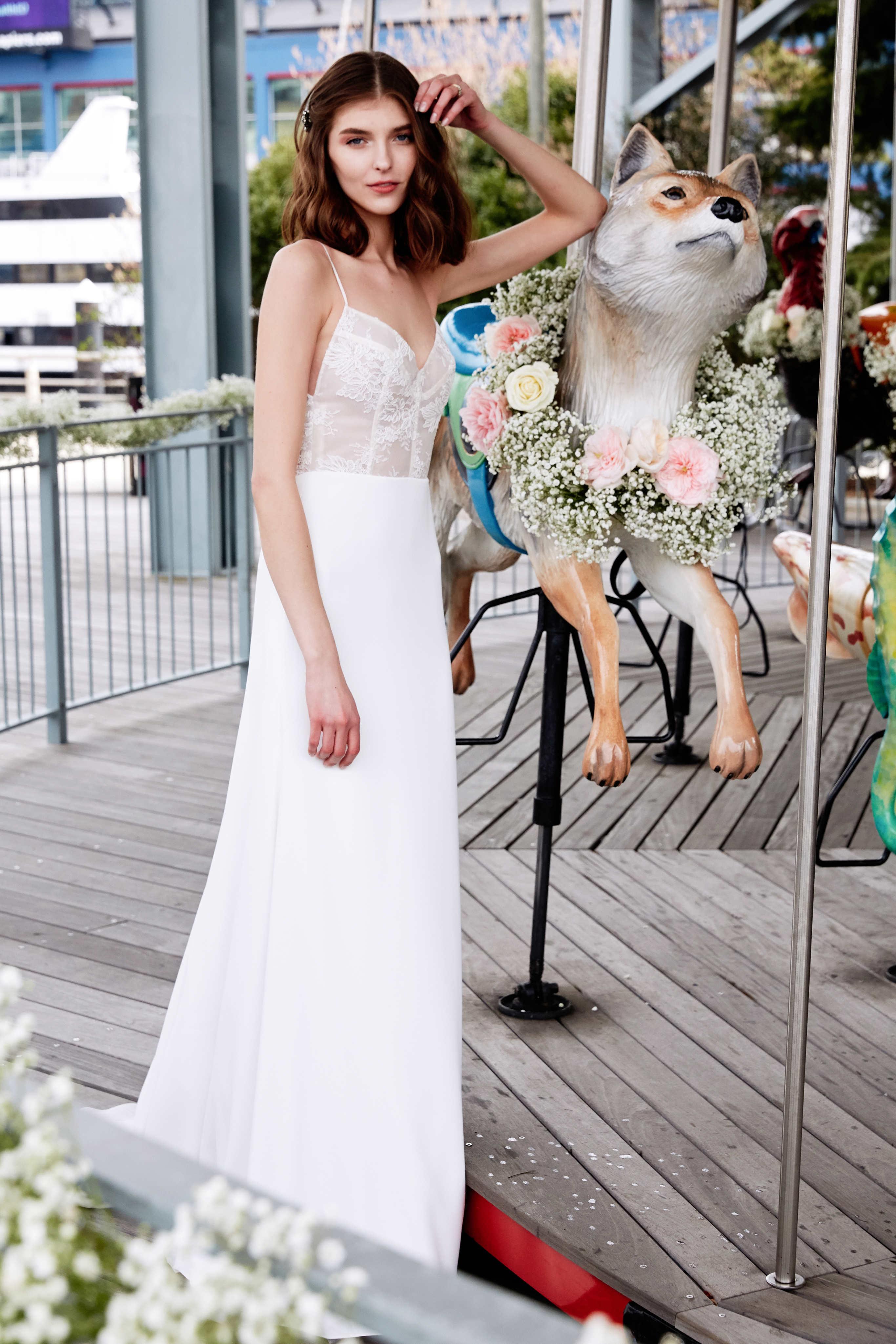 lela rose wedding dress bridal market spring 2020 exposed boning spaghetti strap sheath