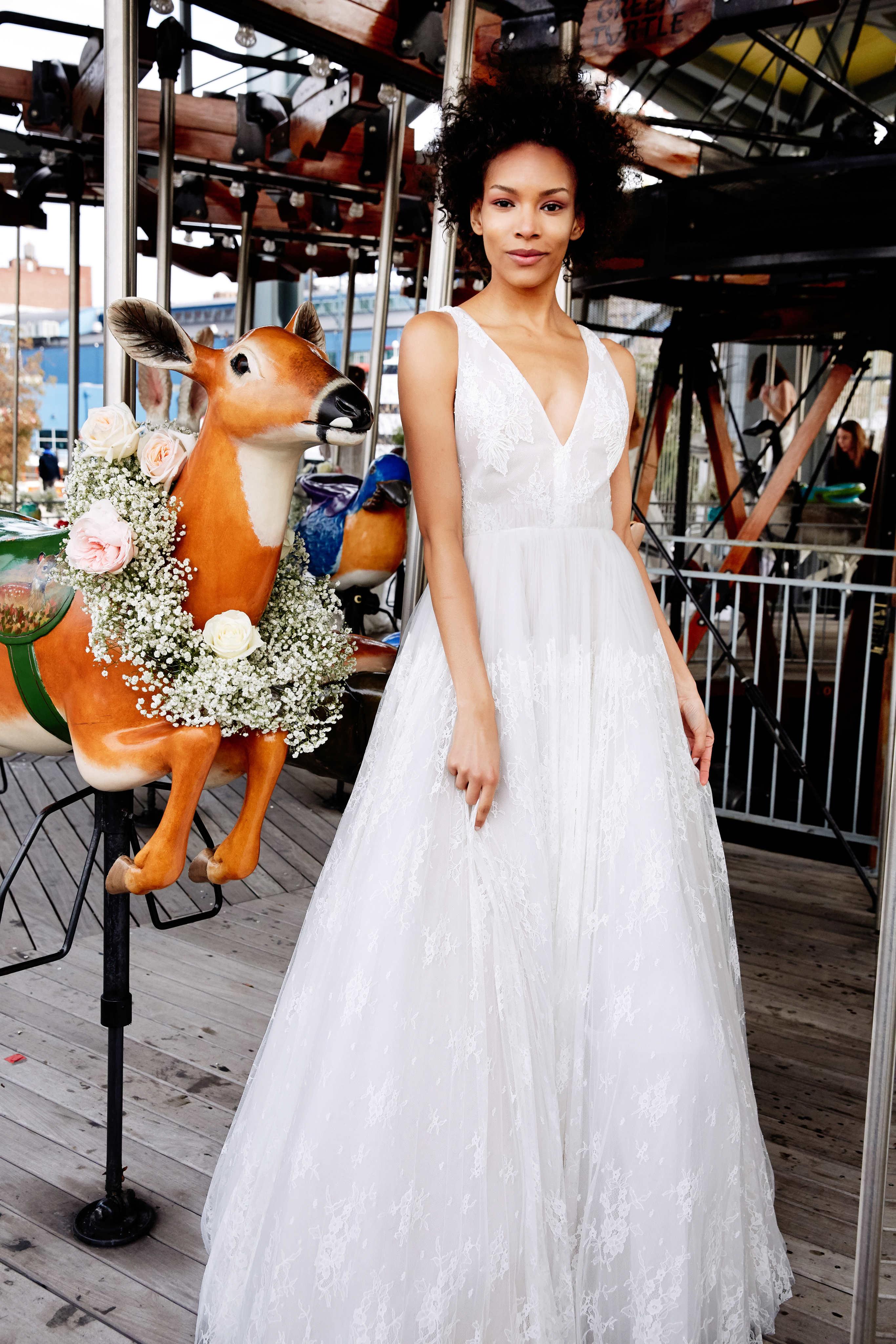 lela rose wedding dress bridal market spring 2020 wide strap a-line deep v-neck
