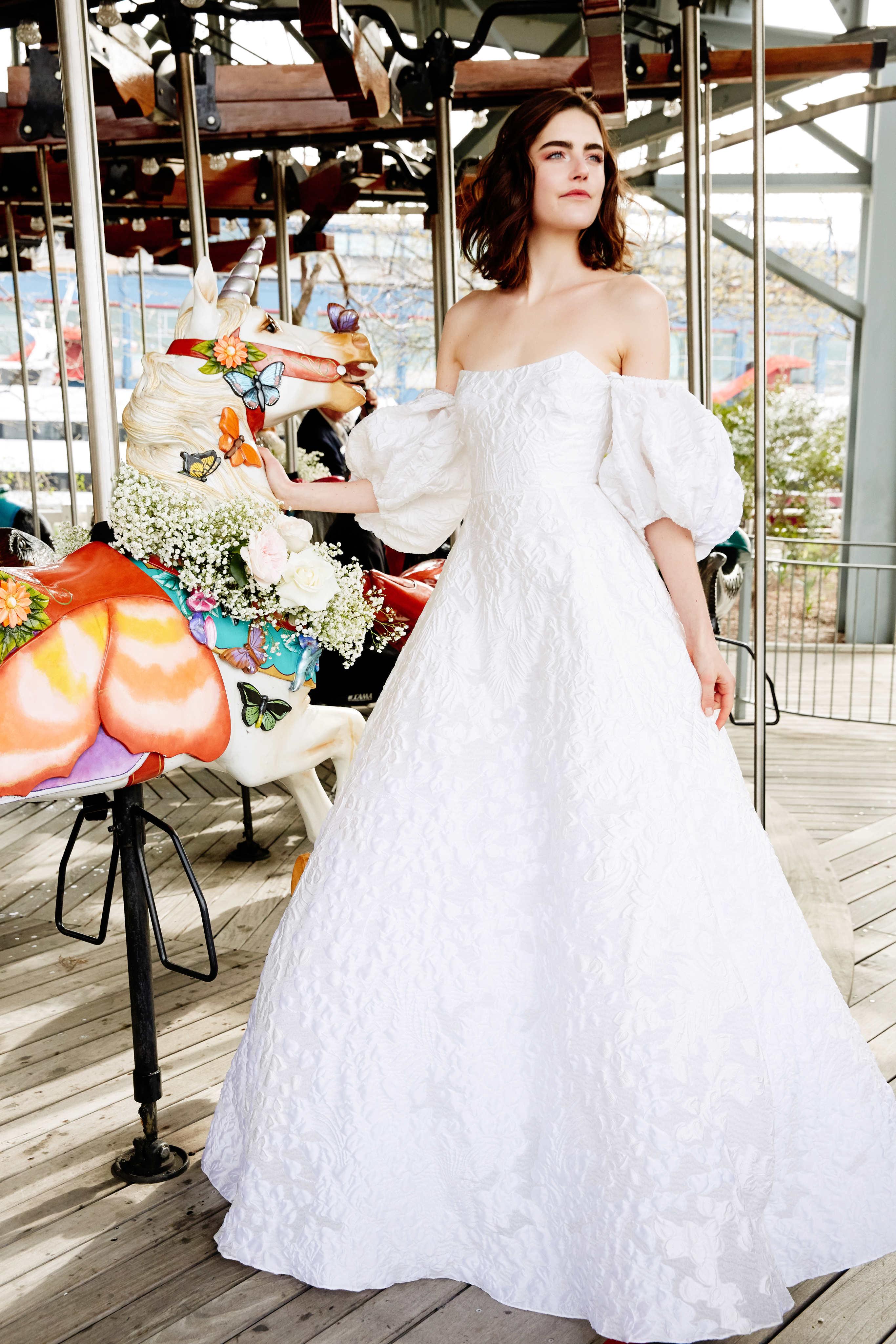 lela rose wedding dress bridal market spring 2020 off-the-shoulder puffed sleeve a-line