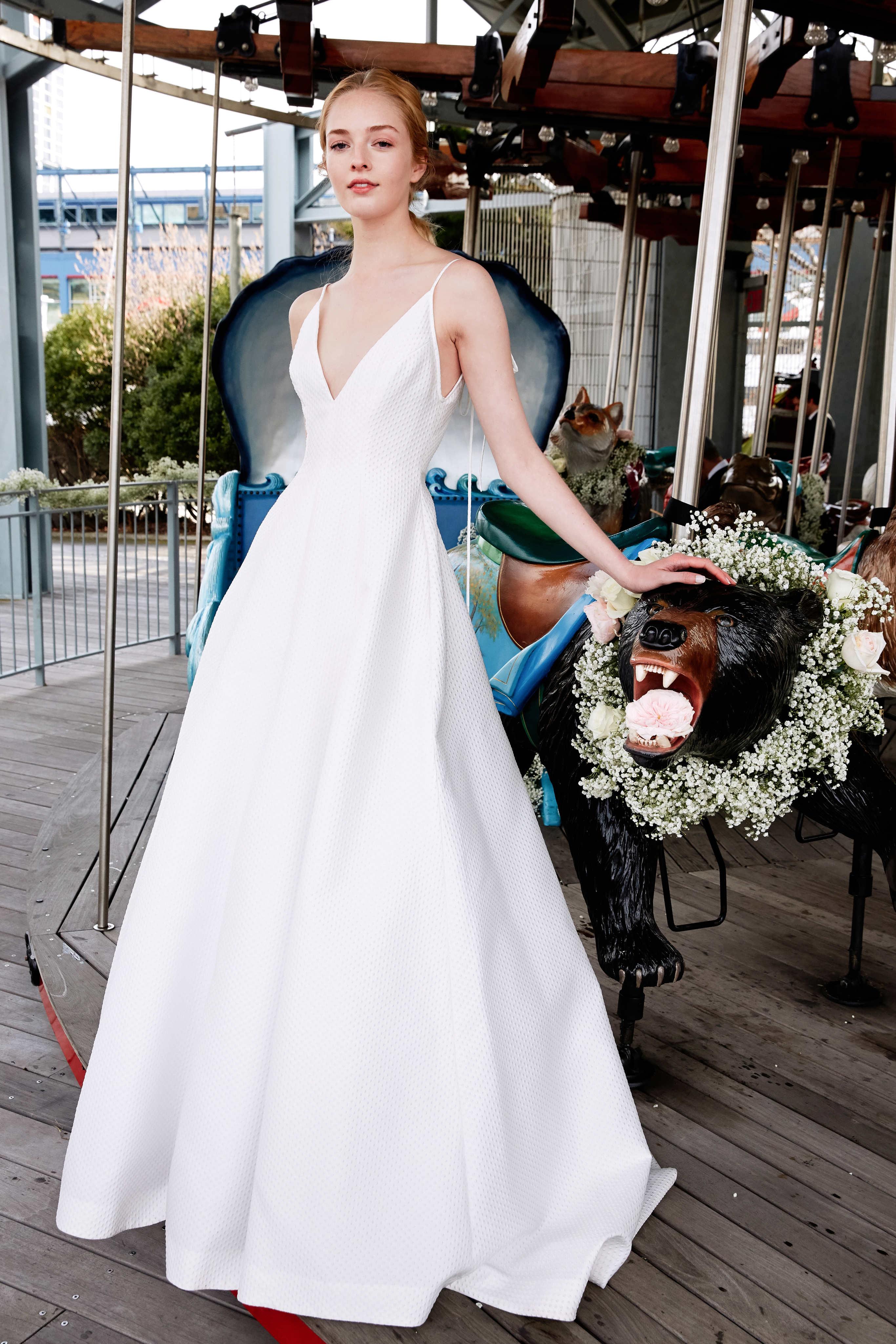 lela rose wedding dress bridal market spring 2020 spaghetti strapped v-neck a-line