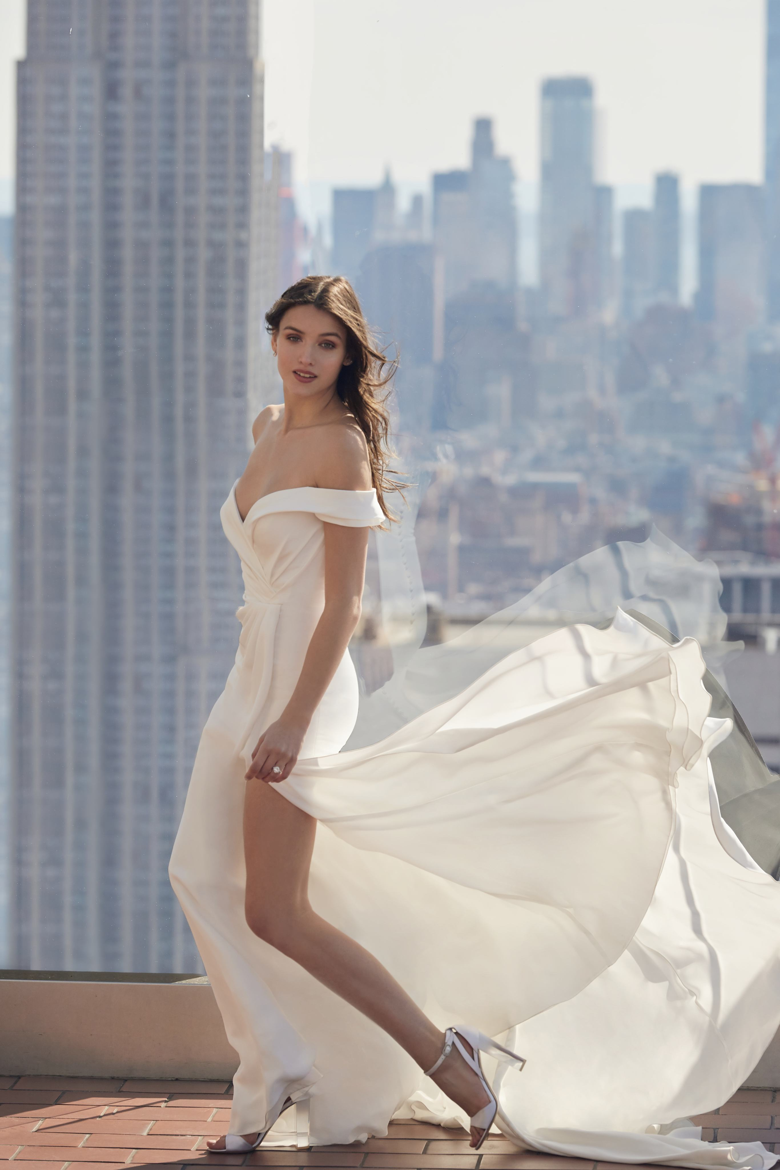 monique lhuillier bliss off the shoulder high slit wedding dress spring 2020