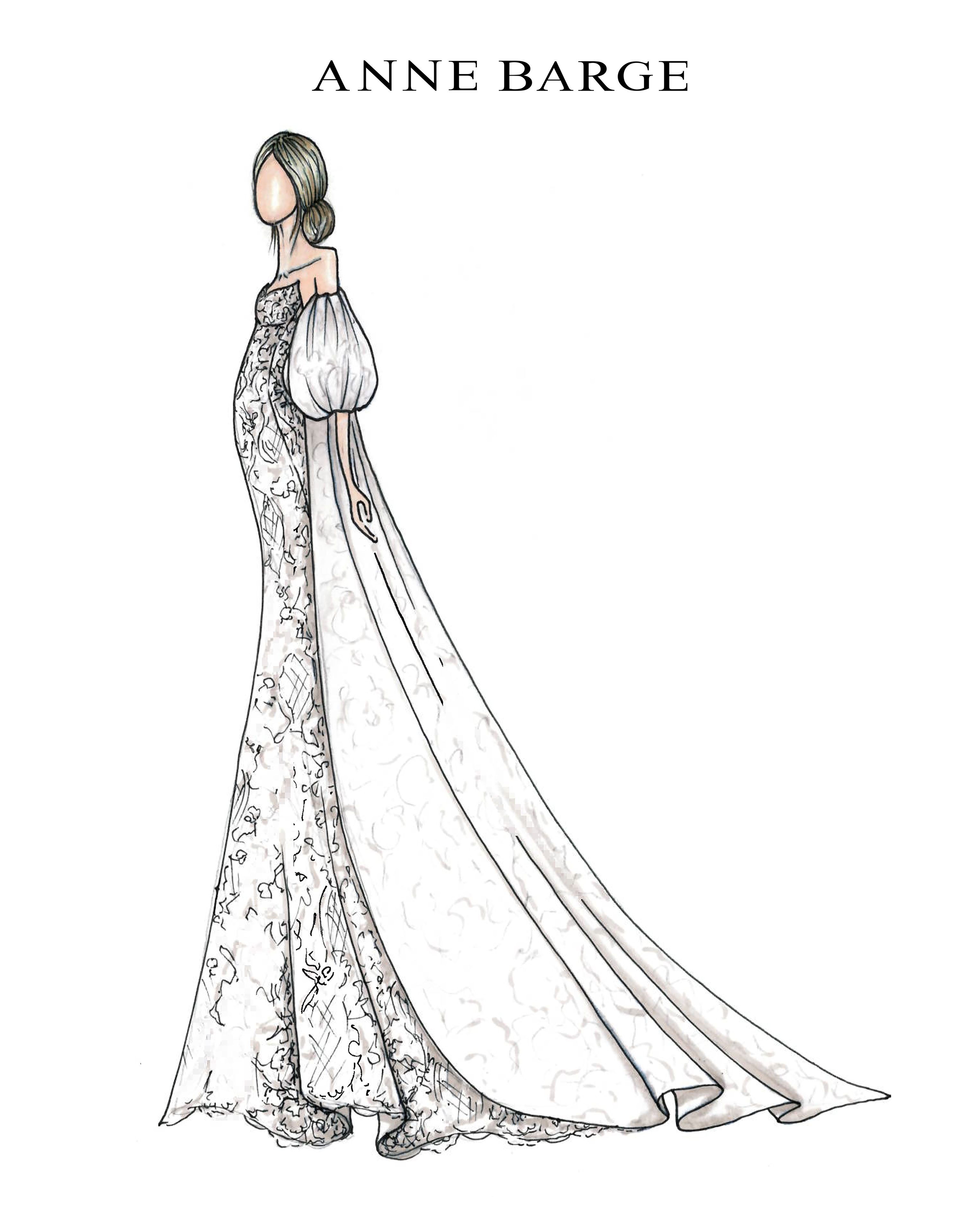 puffed sleeve a-line lace Anne Barge Spring 2020