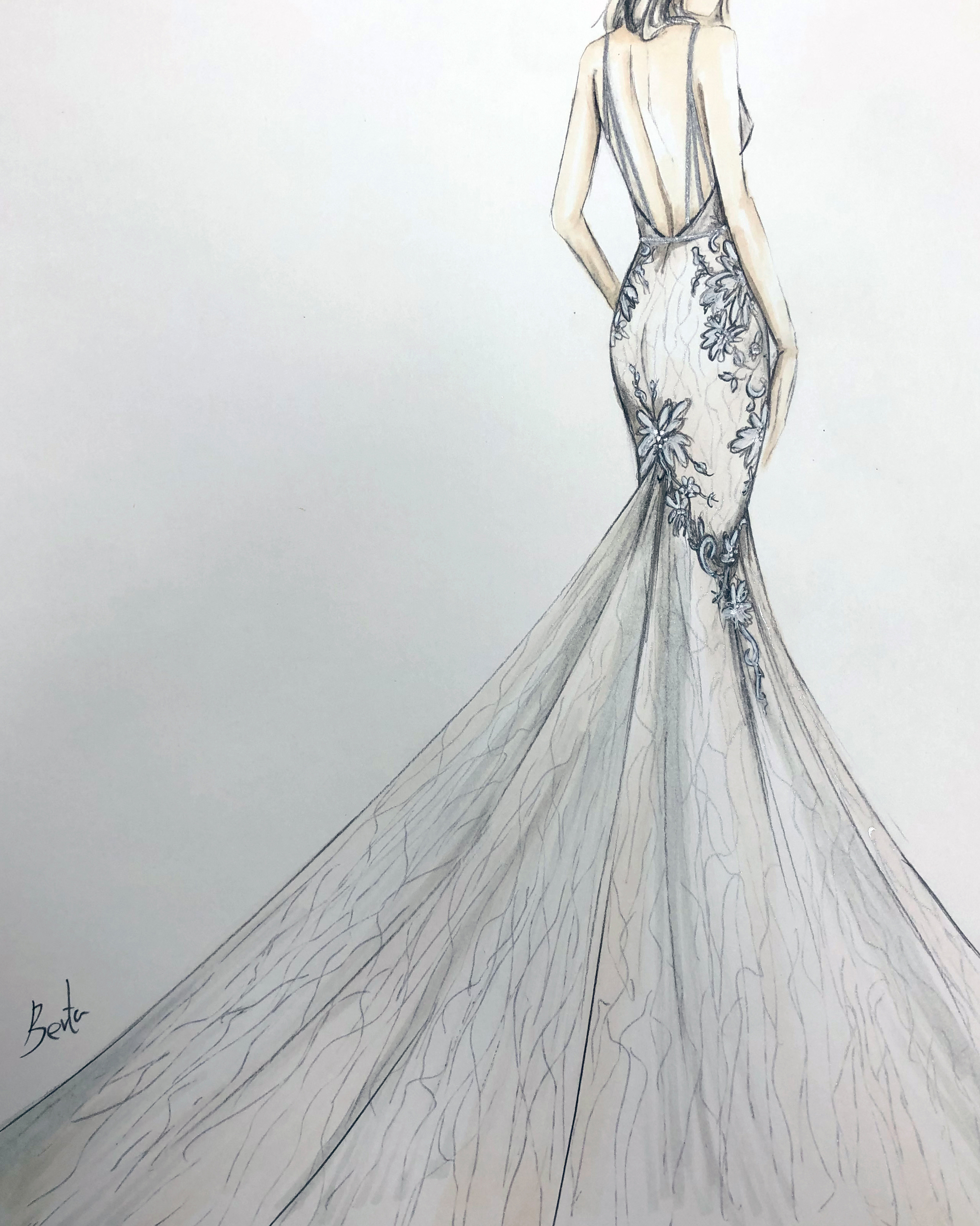 berta spring 2020 wedding dress sketch