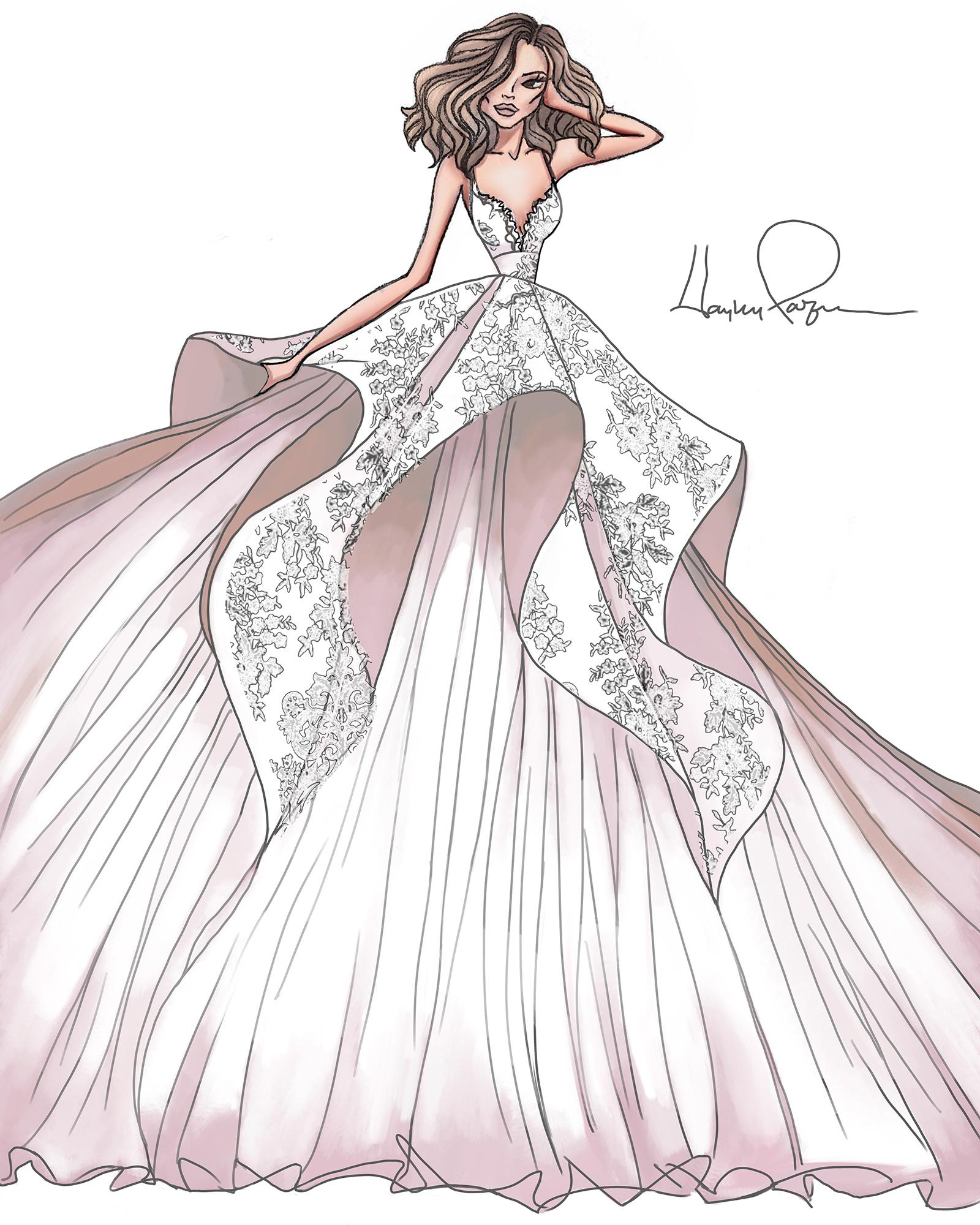blush by hayley paige spring 2020 wedding dress sketch