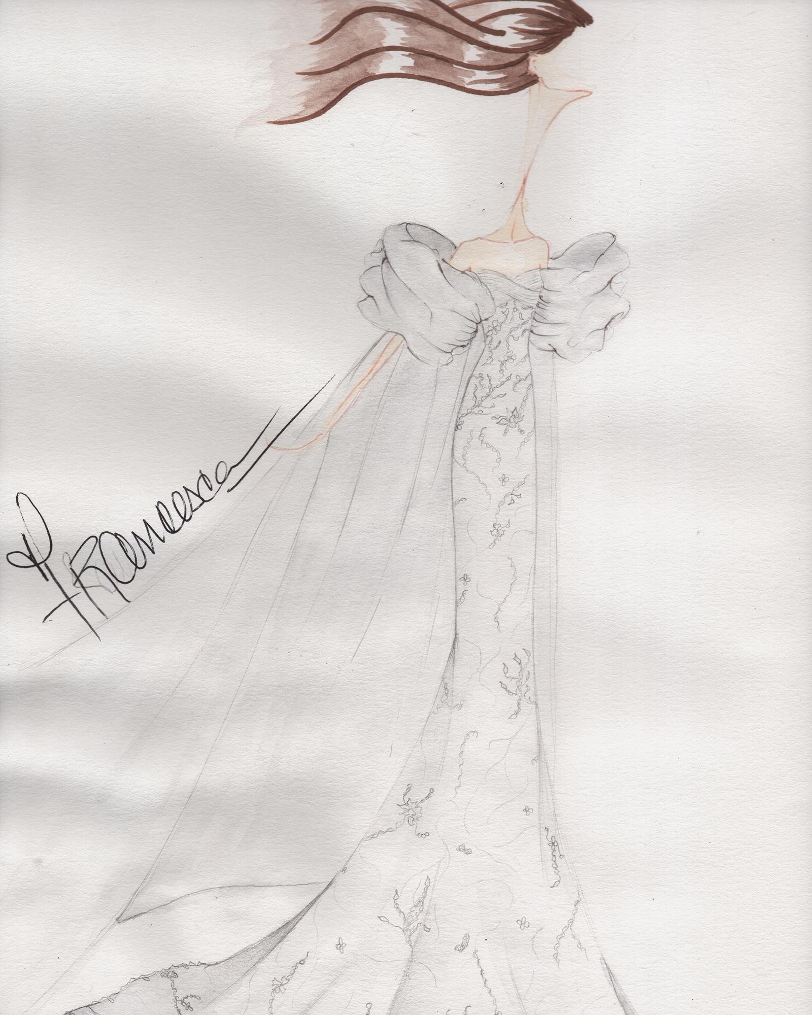 francesca miranda spring 2020 wedding dress sketch