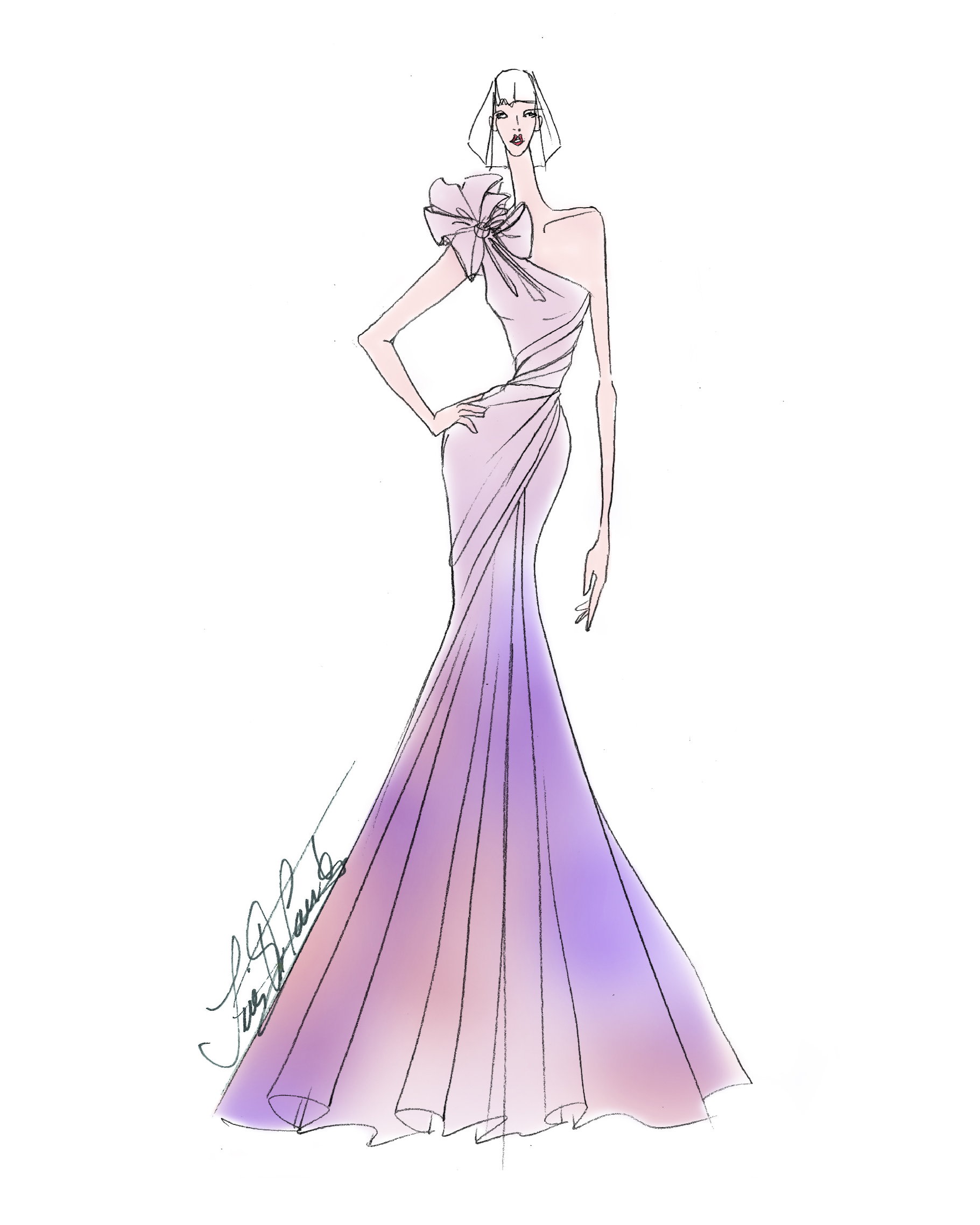 purple ombre trumpet one-shoulder Ines di Santo Spring 2020