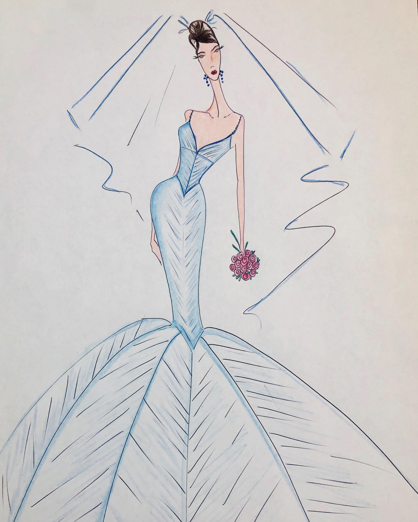 blue v-neck spaghetti strap mermaid Lazaro Spring 2020