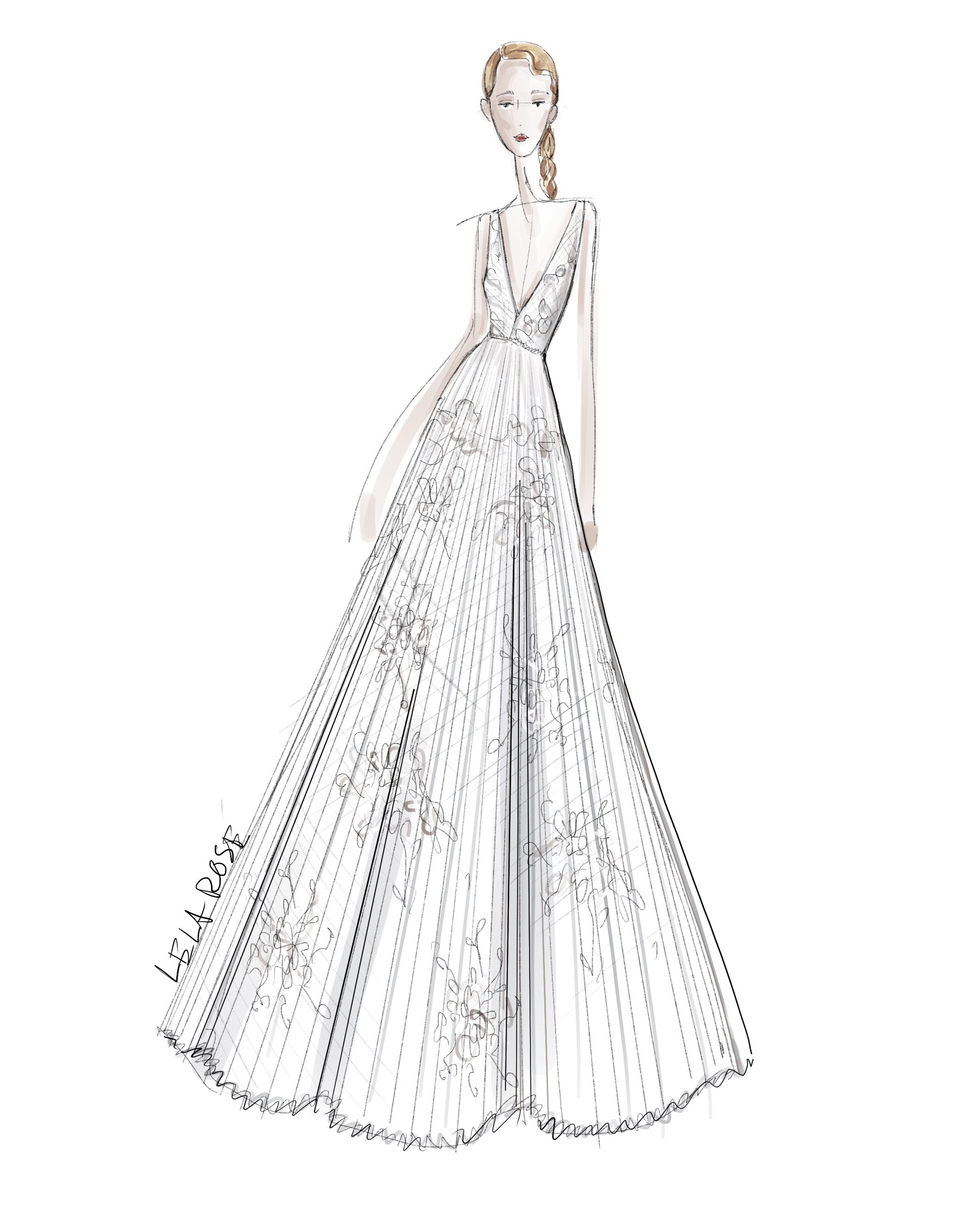 v-neck a-line lace Lela Rose Spring 2020