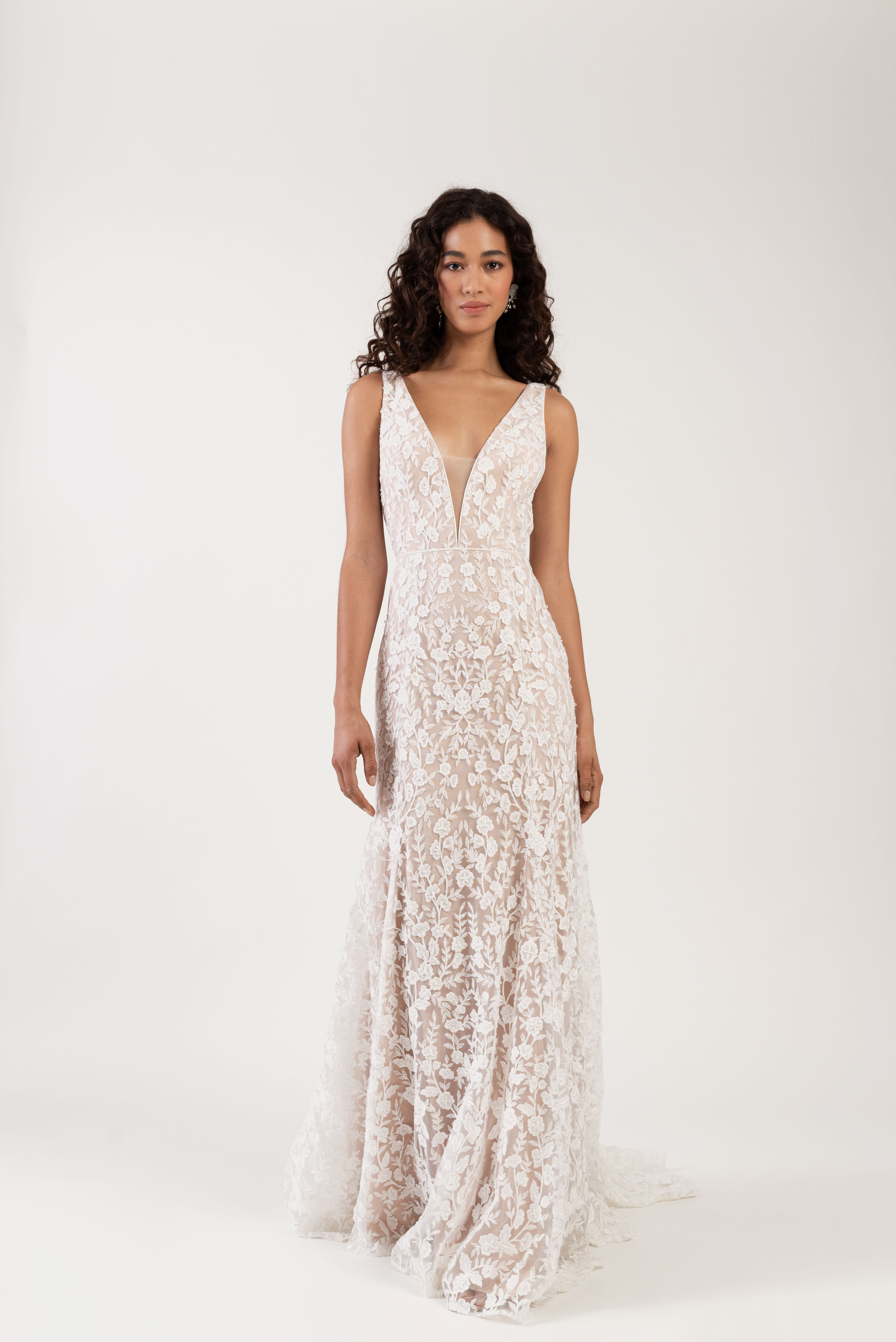 thick spaghetti strap deep v-neck lace a-line wedding dress Jenny by Jenny Yoo Spring 2020