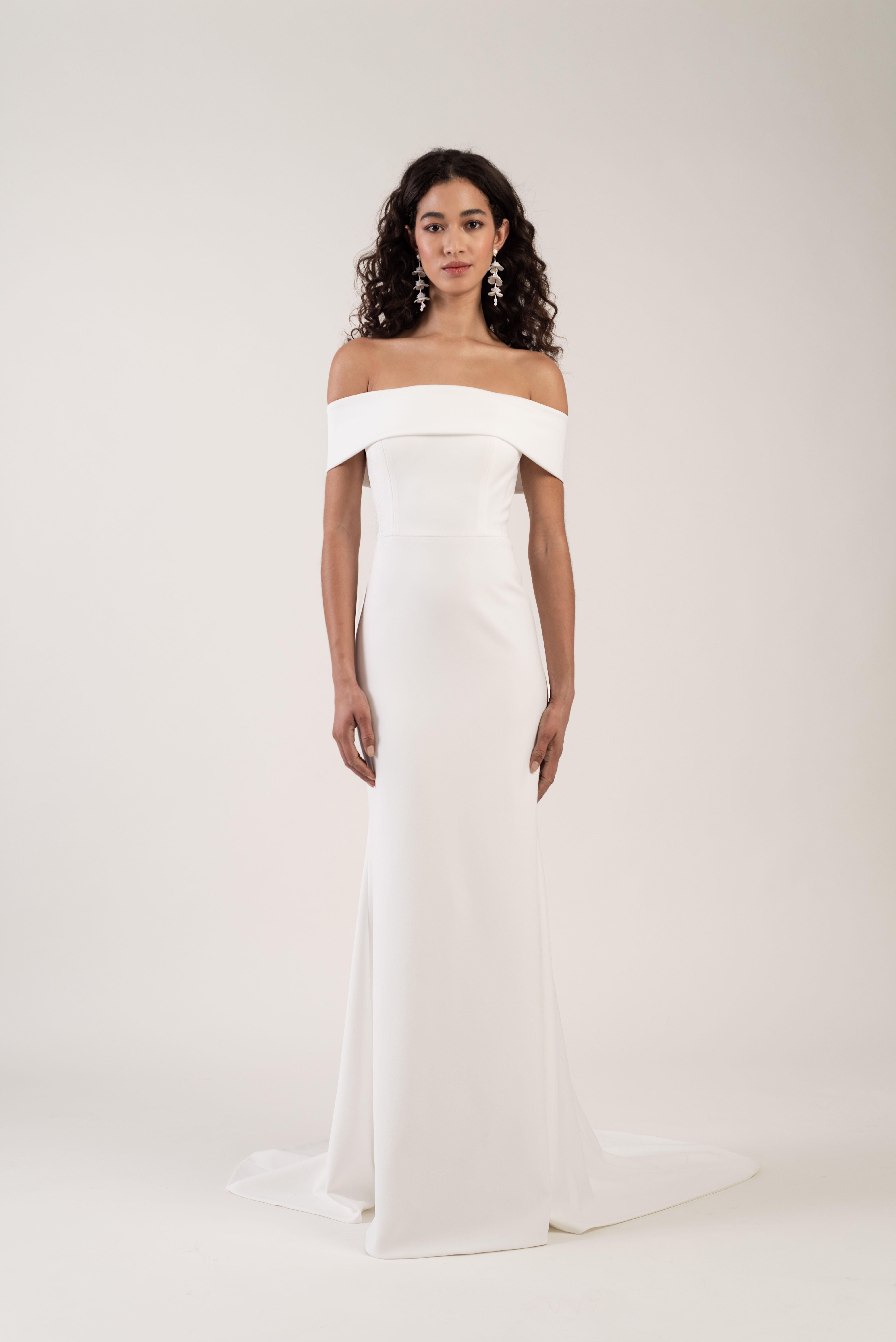 off-the-shoulder straight across train sheath wedding dress Jenny by Jenny Yoo Spring 2020