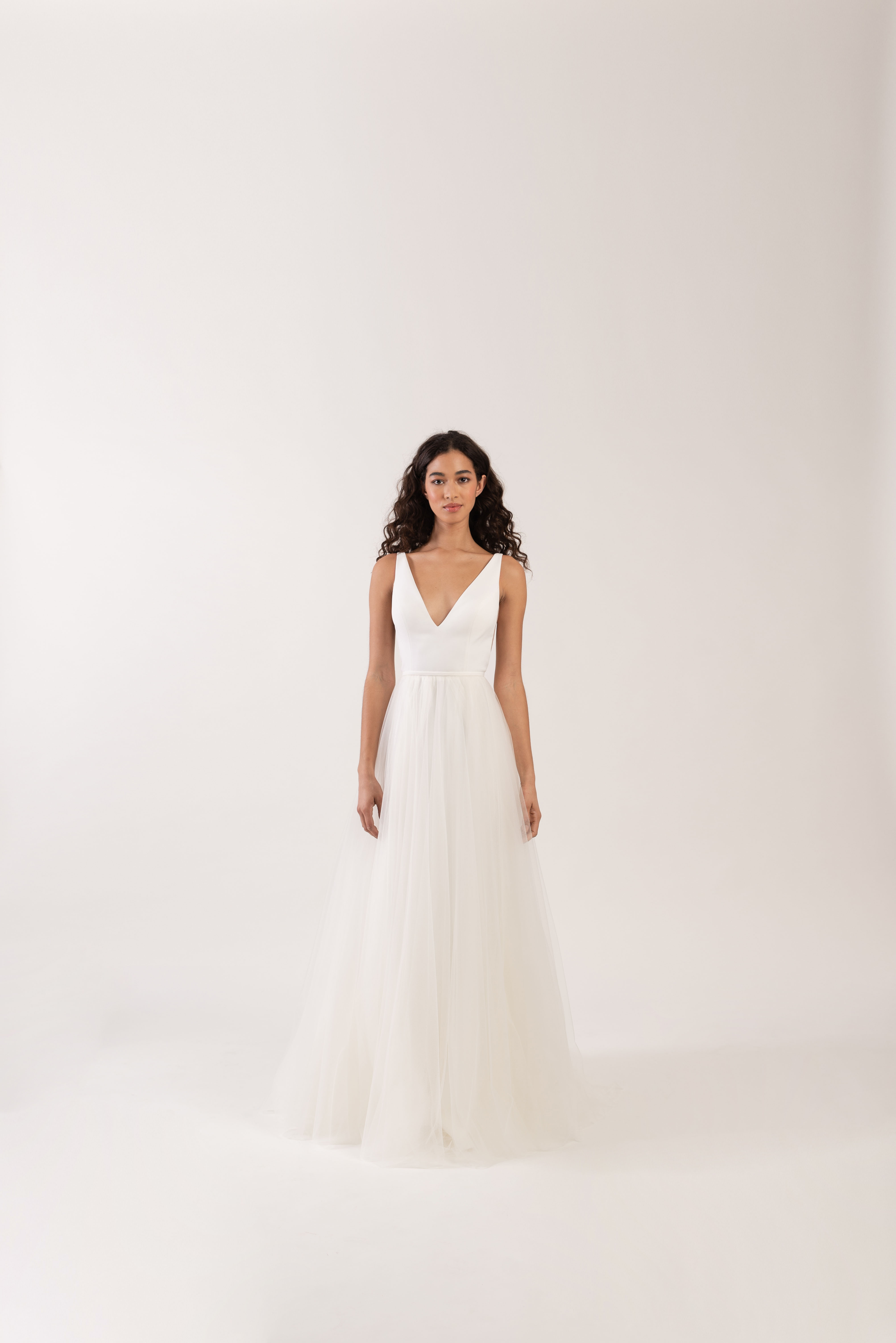 wide spaghetti strap v-neck tulle skirt a-line wedding dress Jenny by Jenny Yoo Spring 2020