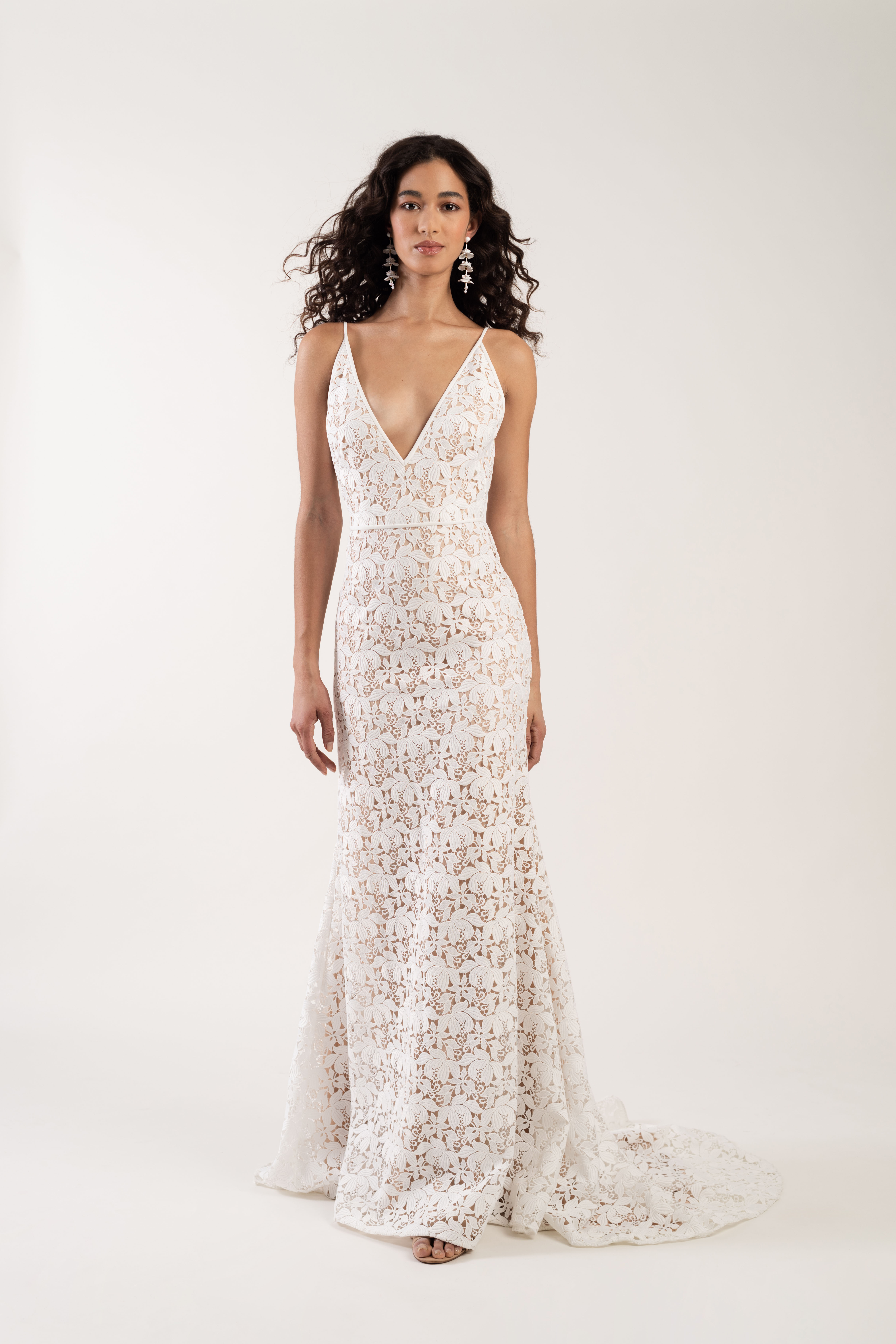 spaghetti strap deep v-neck embroidered lace a-line wedding dress Jenny by Jenny Yoo Spring 2020