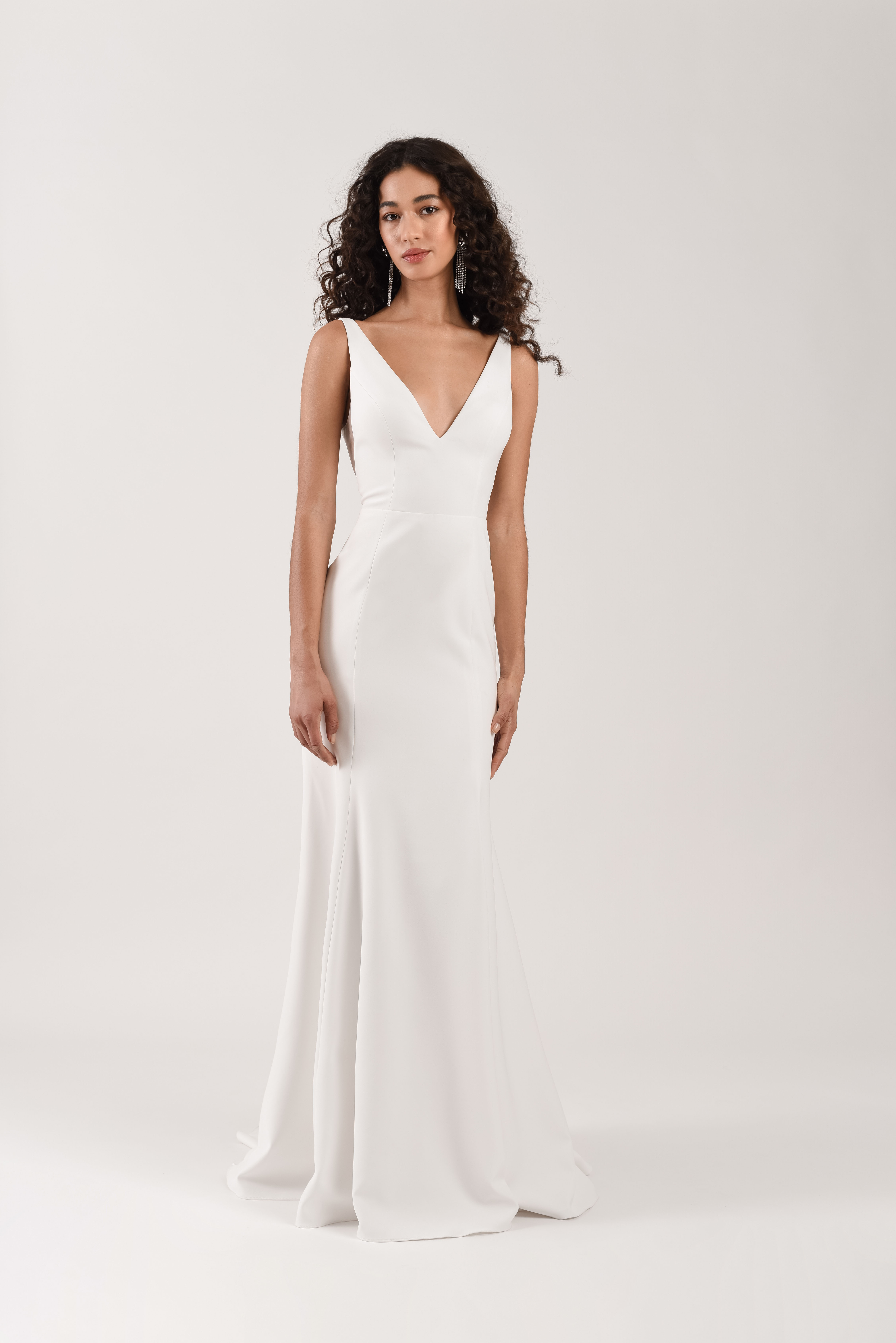 spaghetti strap deep v-neck train semi trumpet wedding dress Jenny by Jenny Yoo Spring 2020
