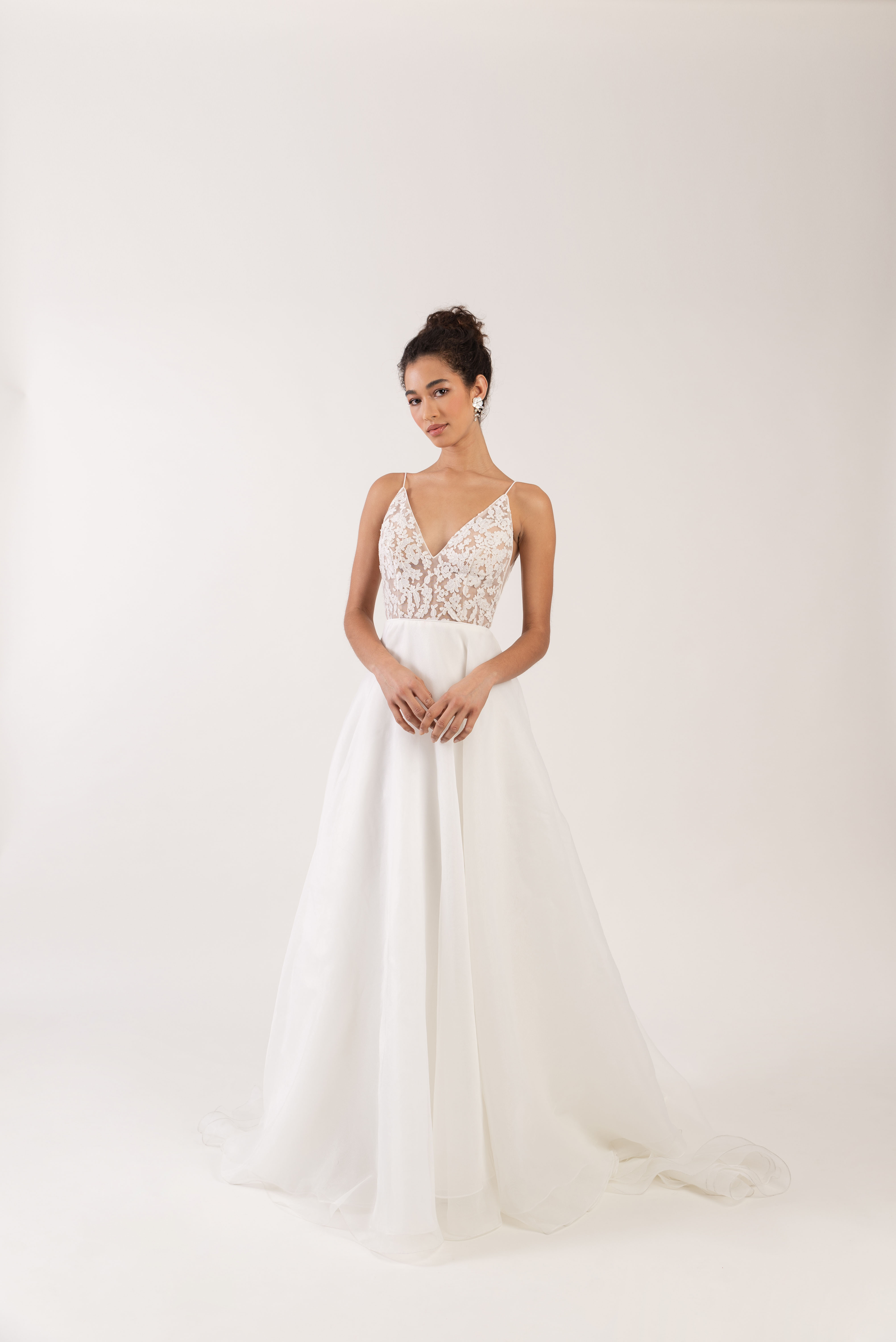 spaghetti strap deep v-neck sheer lace bodice a-line wedding dress Jenny by Jenny Yoo Spring 2020