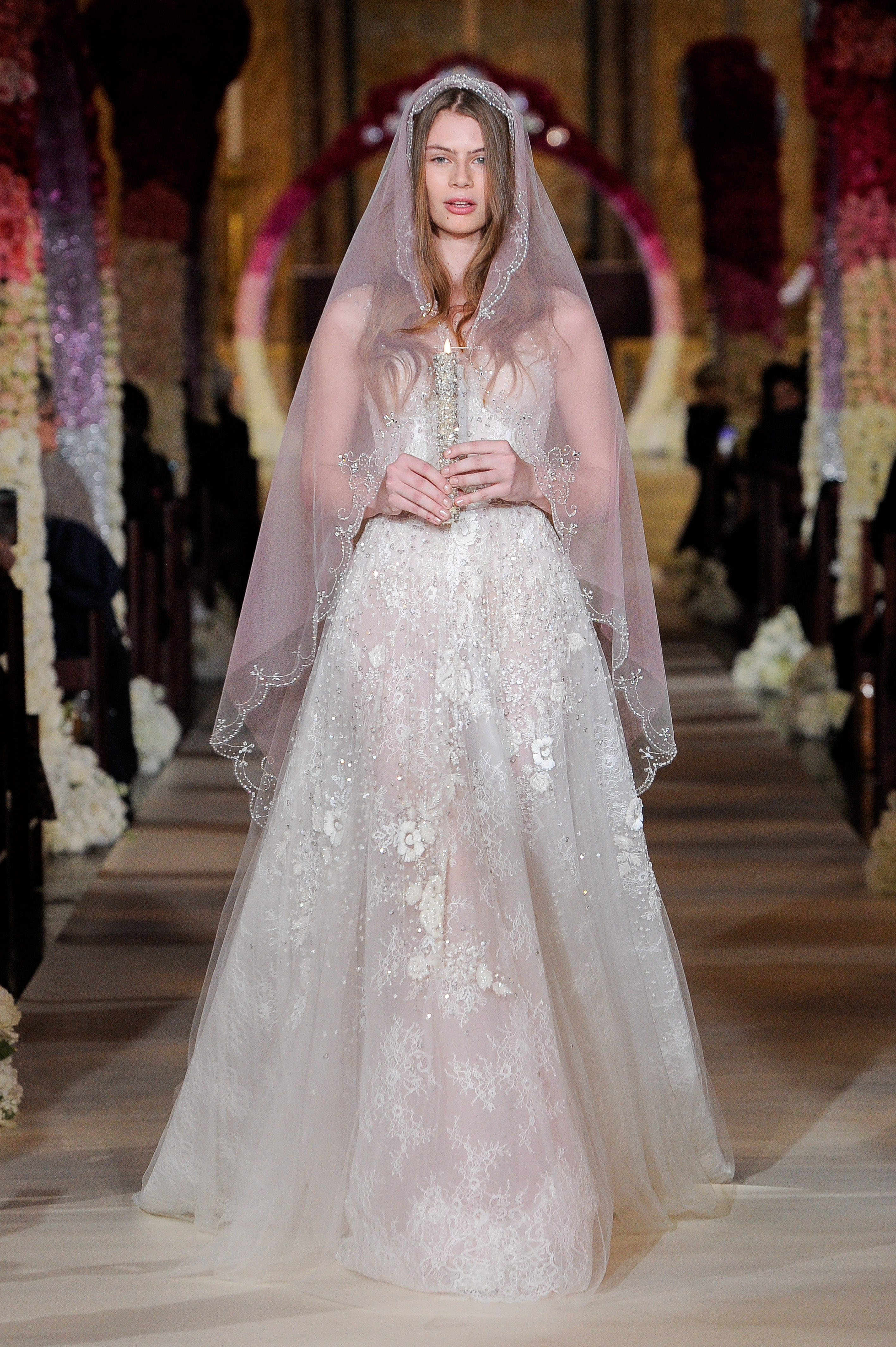 a-line lace beaded vail wedding dress Reem Acra Spring 2020