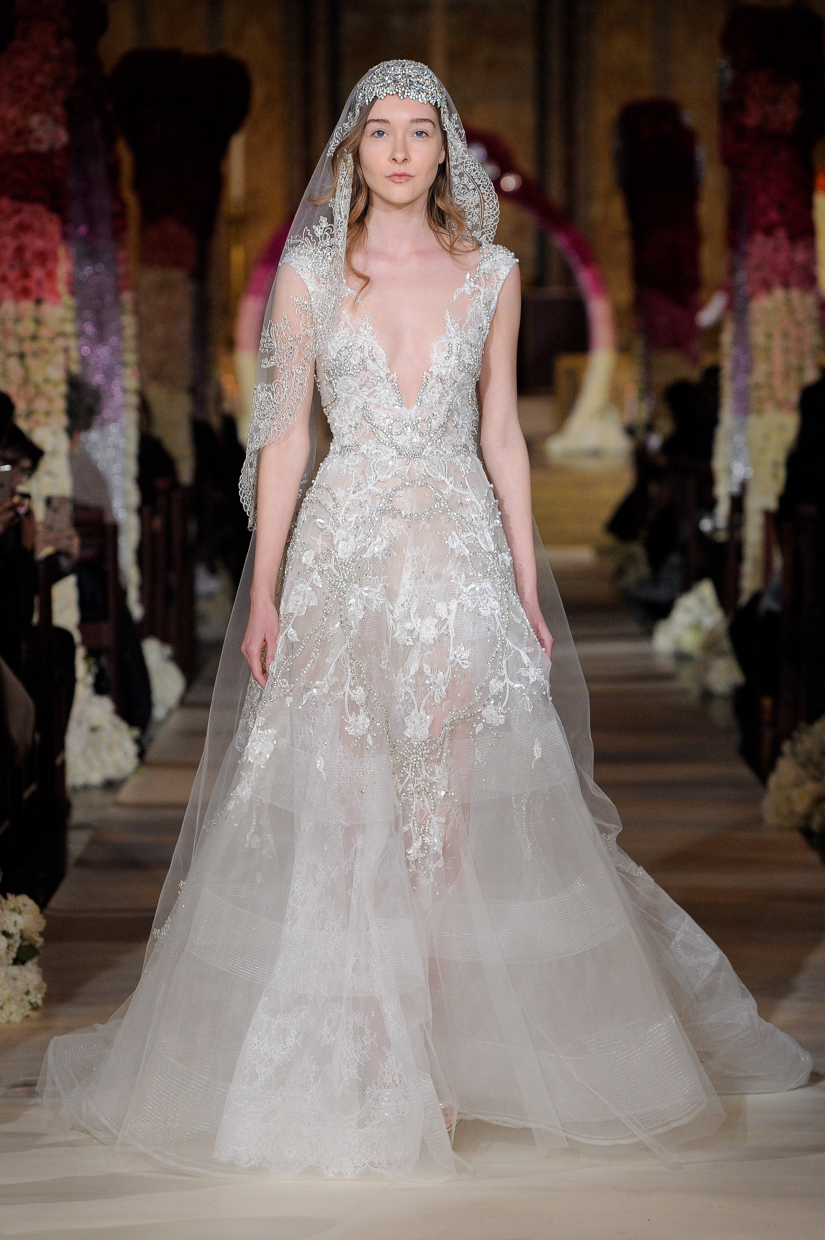 deep v sleeveless lace vail wedding dress Reem Acra Spring 2020