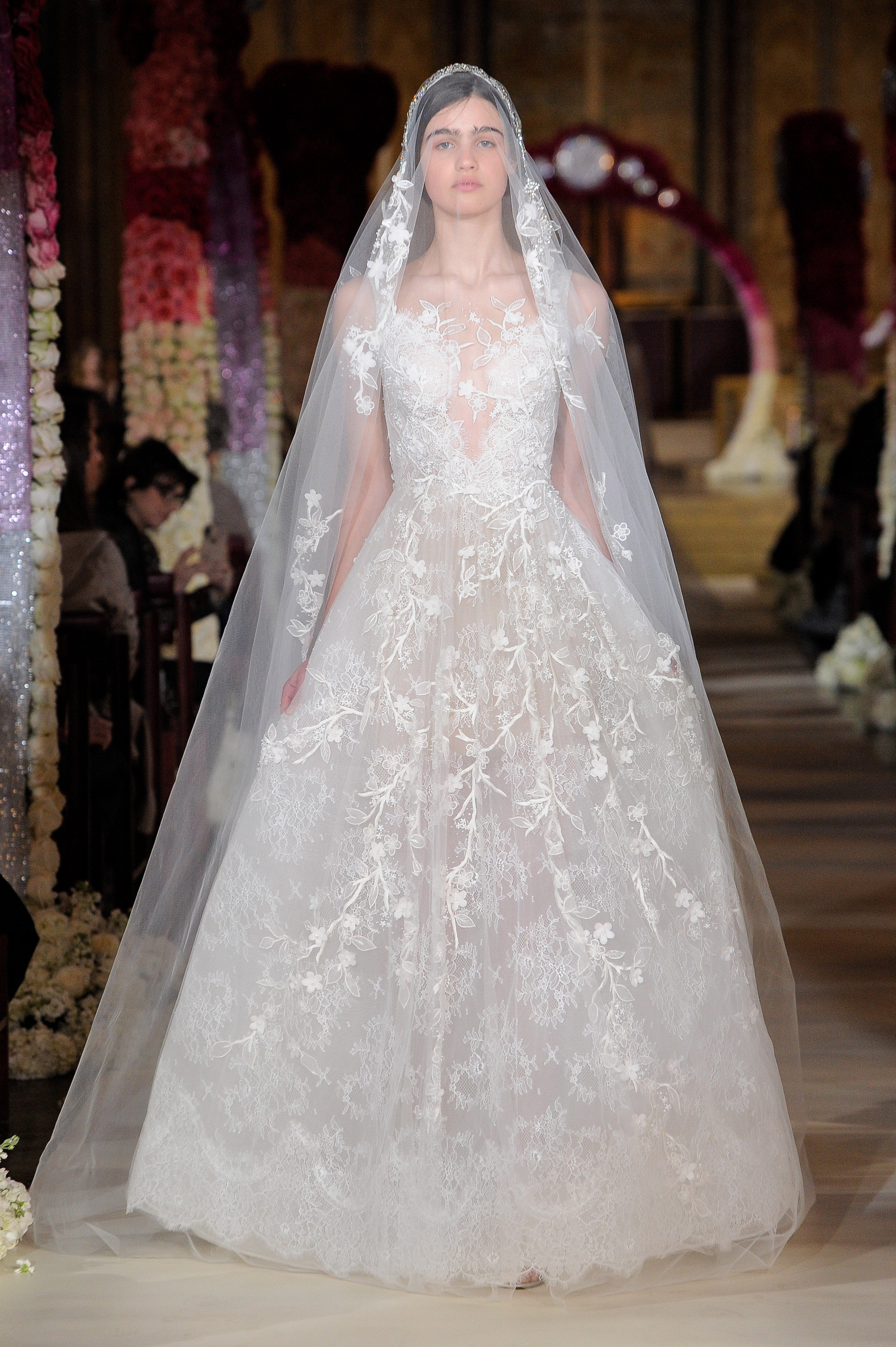 illusion neckline lace vail ball gown wedding dress Reem Acra Spring 2020