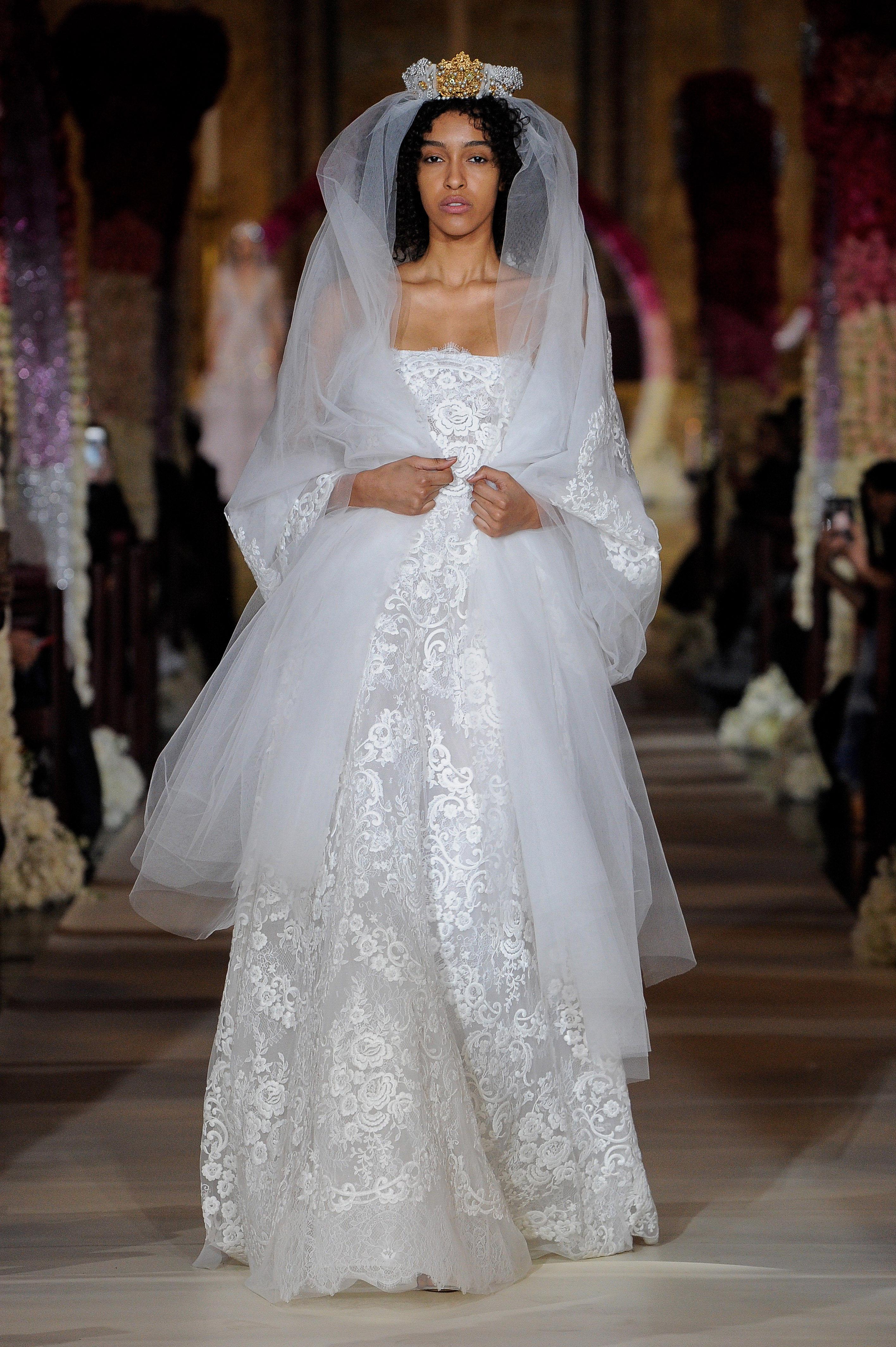 straight across a-line lace wedding dress Reem Acra Spring 2020