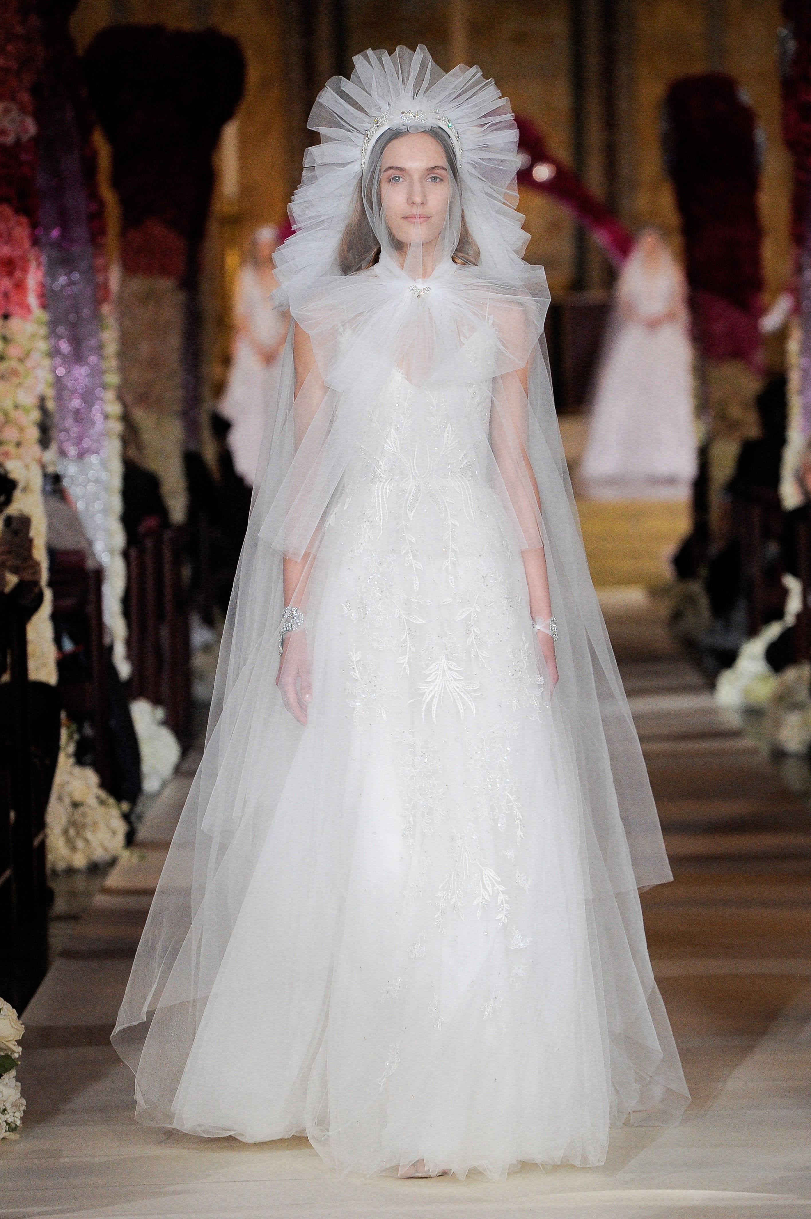 tulle cape a-line spaghetti strap sweetheart neckline wedding dress Reem Acra Spring 2020