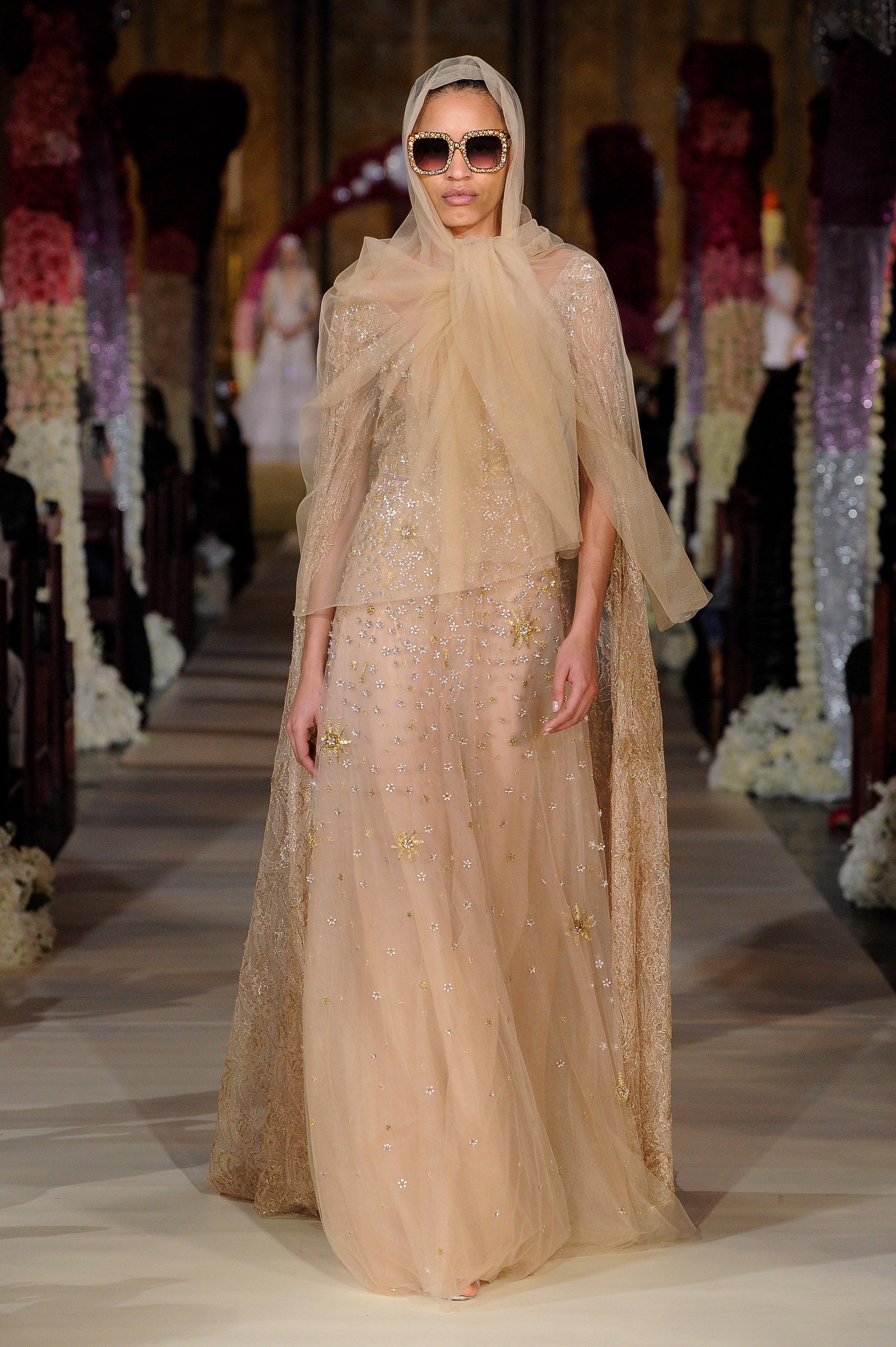 tulle head wrap long cape glitter beaded a-line wedding dress Reem Acra Spring 2020