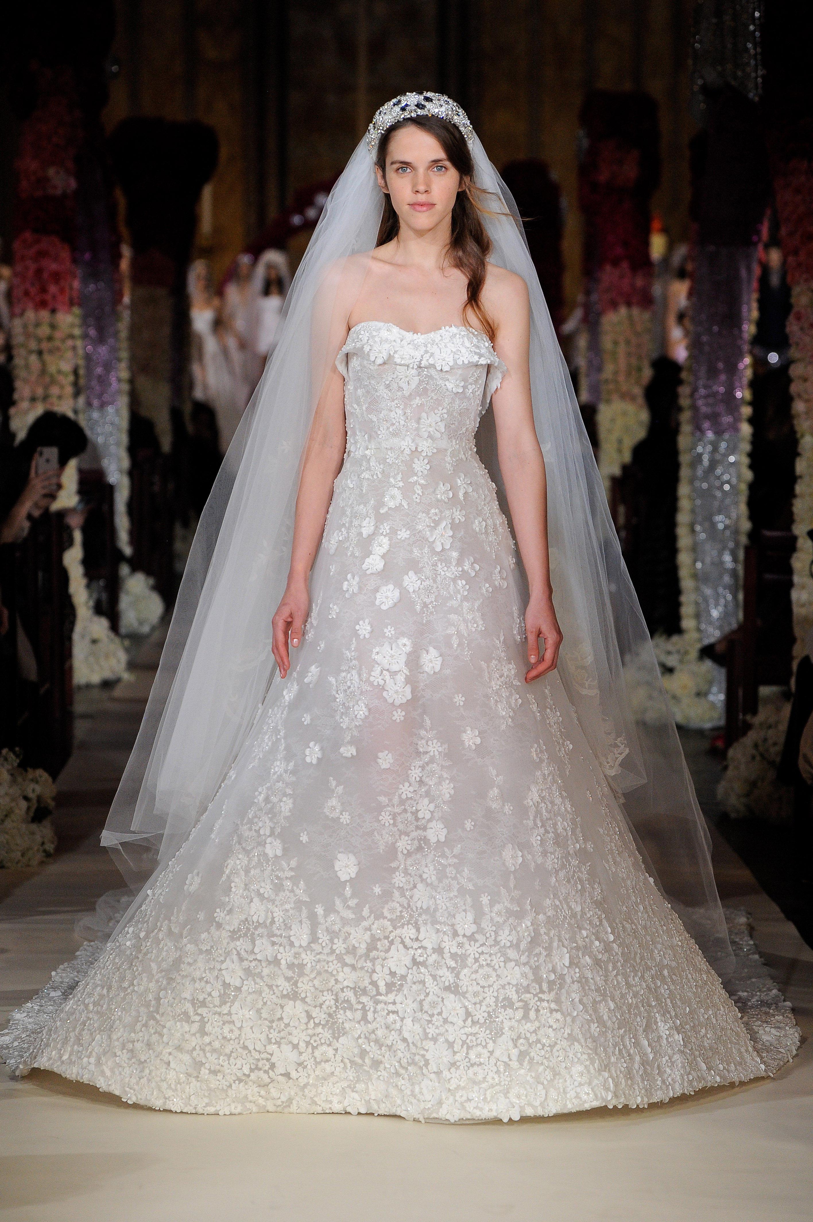 strapless semi sweetheart a-line wedding dress Reem Acra Spring 2020