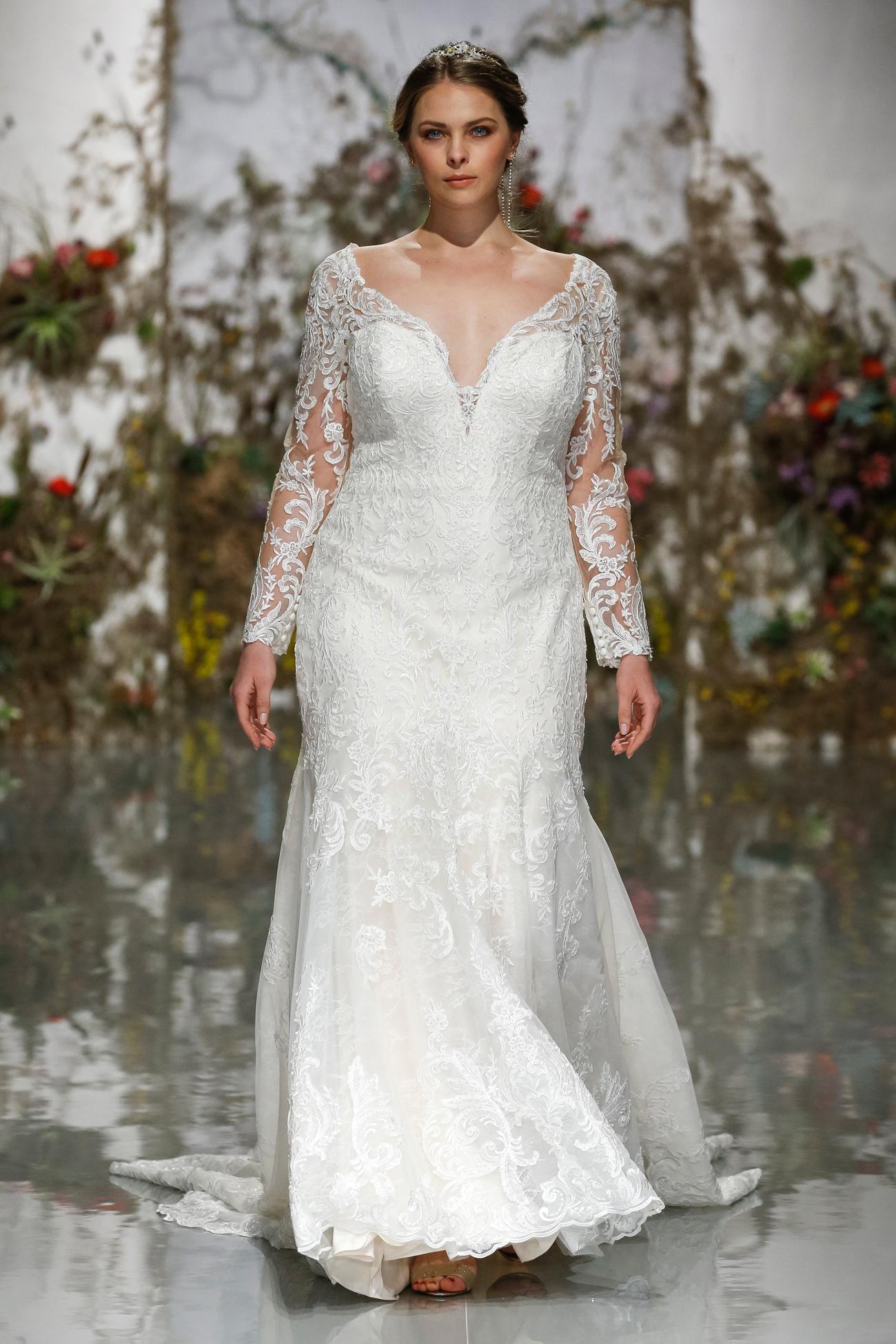 deep v-neck long sleeve lace a-line Morilee by Madeline Gardner Spring 2020