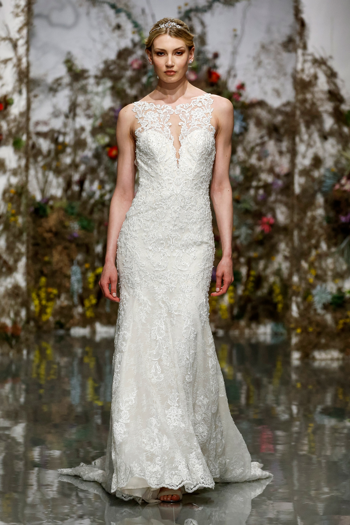 lace illusion high neck embroidered sheath dress Morilee by Madeline Gardner Spring 2020