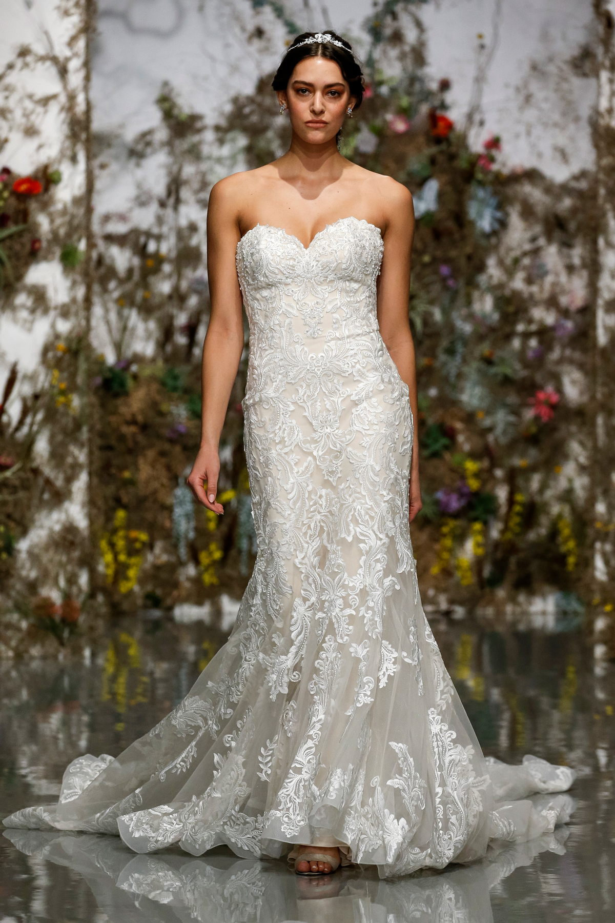 strapless semi sweetheart embroidered mermaid Morilee by Madeline Gardner Spring 2020