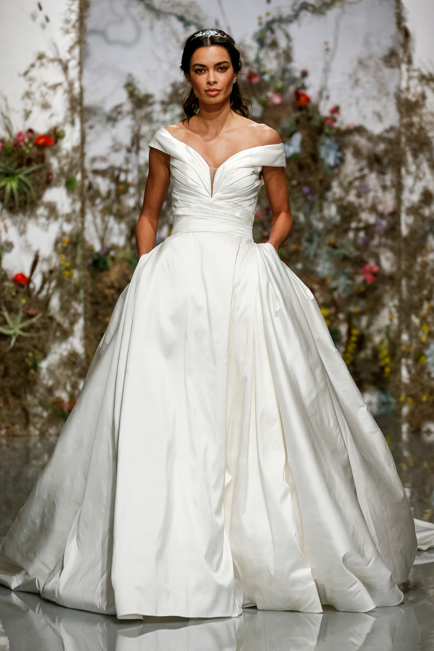 off-the-shoulder ruching ball gown Morilee by Madeline Gardner Spring 2020