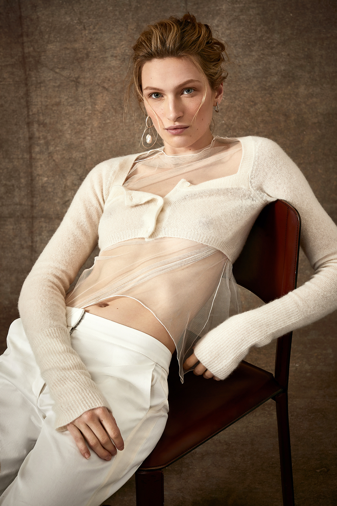 sheer underlay rib knit cropped long sleeve cardigan with pants wedding set Danielle Frankel Spring 2020