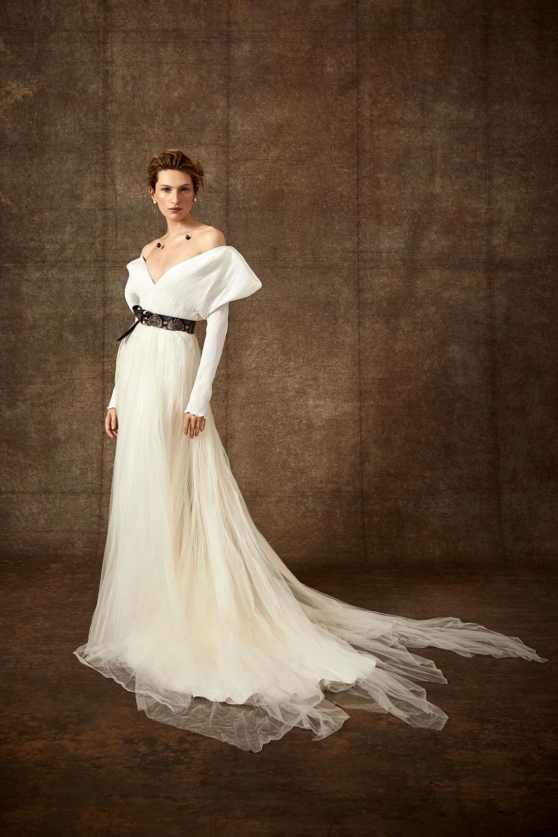 off-the-shoulder v-neck ribbed long sleeve tulle wedding dress Danielle Frankel Spring 2020