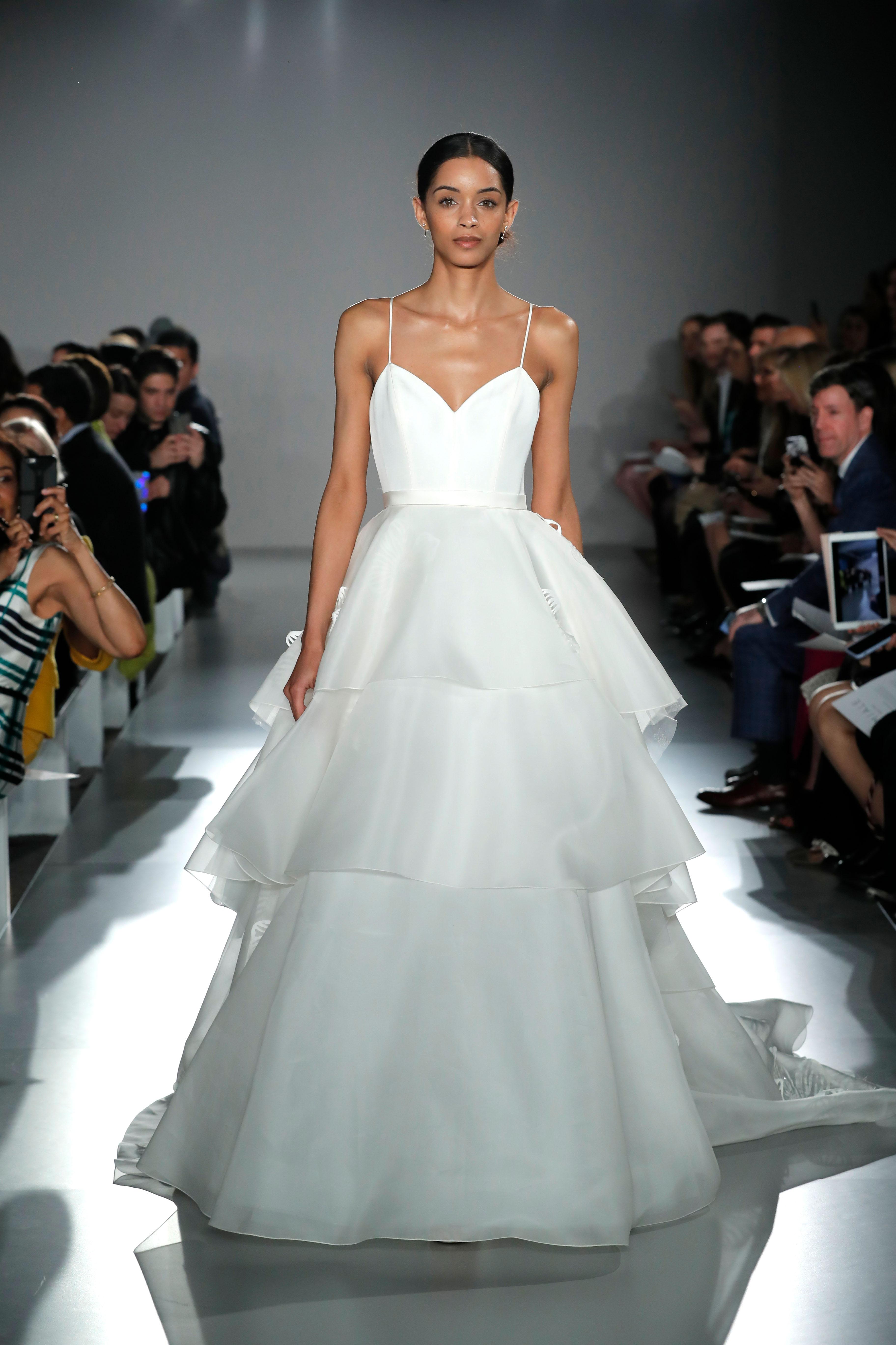 spaghetti strap sweetheart neckline tiered a-line wedding dress Amsale Spring 2020