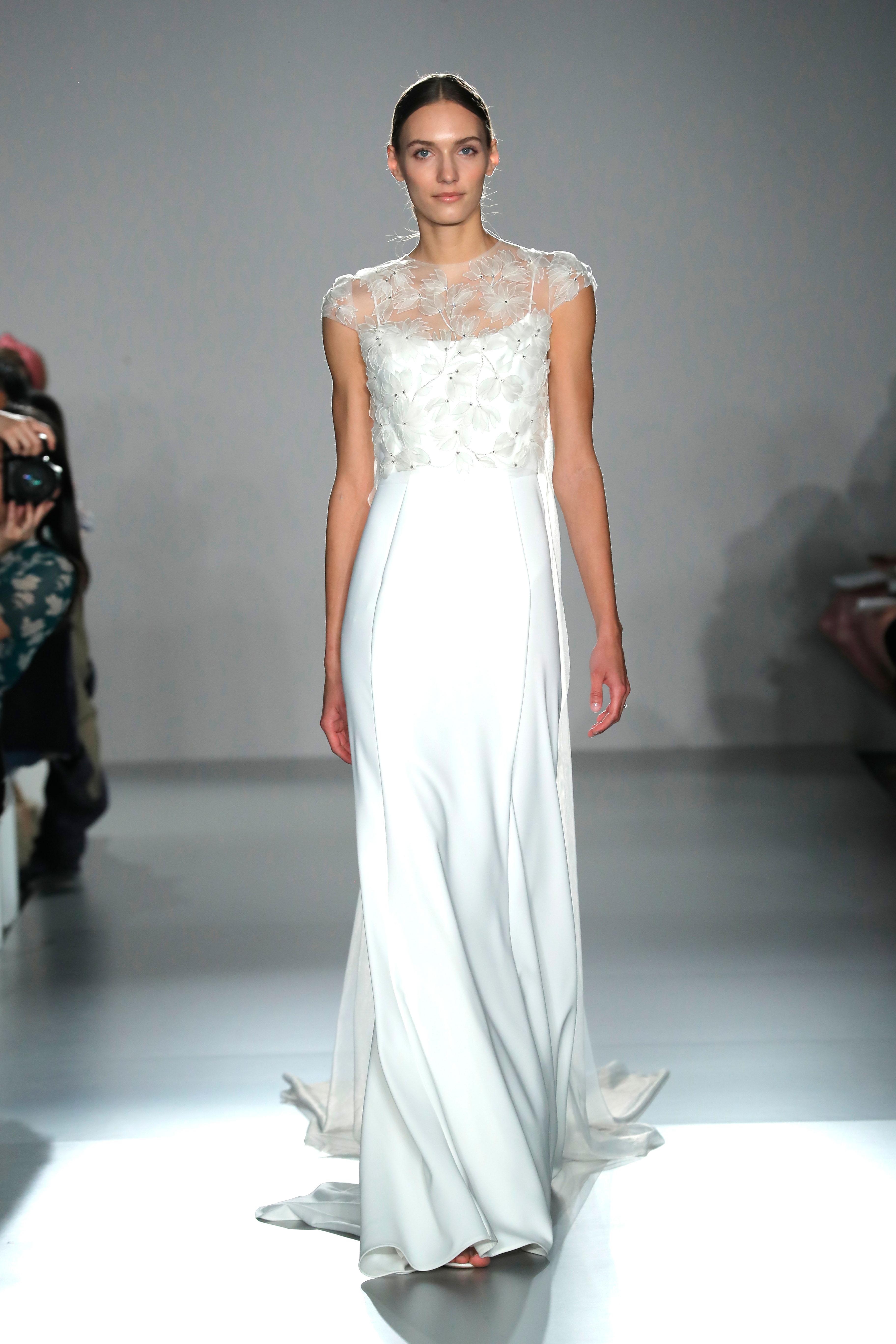 illusion jewel neckline lace cap sleeve sheath wedding dress Amsale Spring 2020