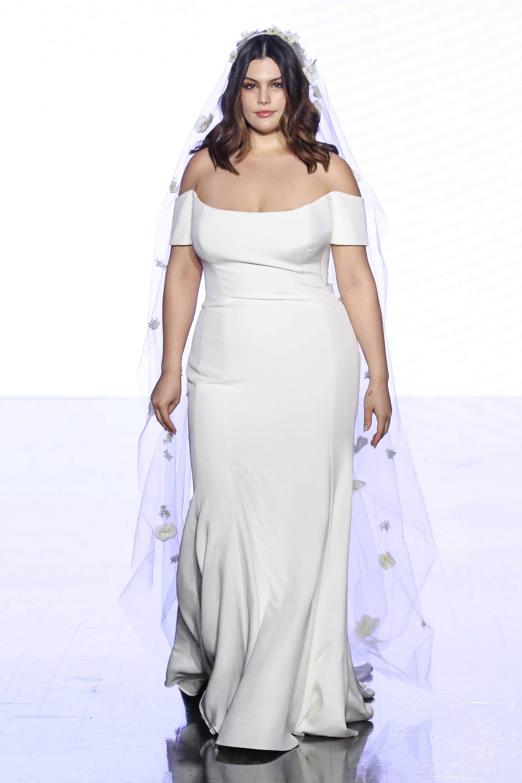 watters off the shoulder trumpet wedding dress spring 2020
