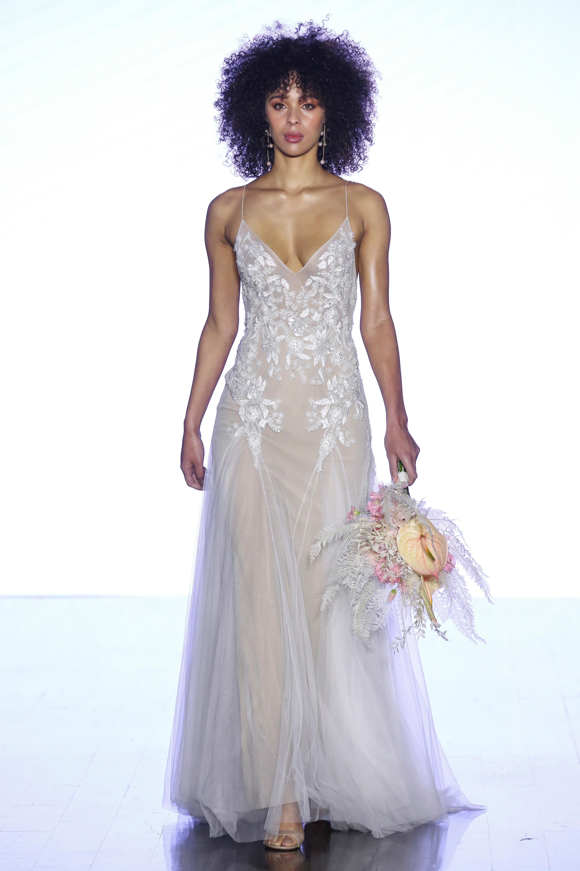 watters sheer spaghetti strap wedding dress spring 2020